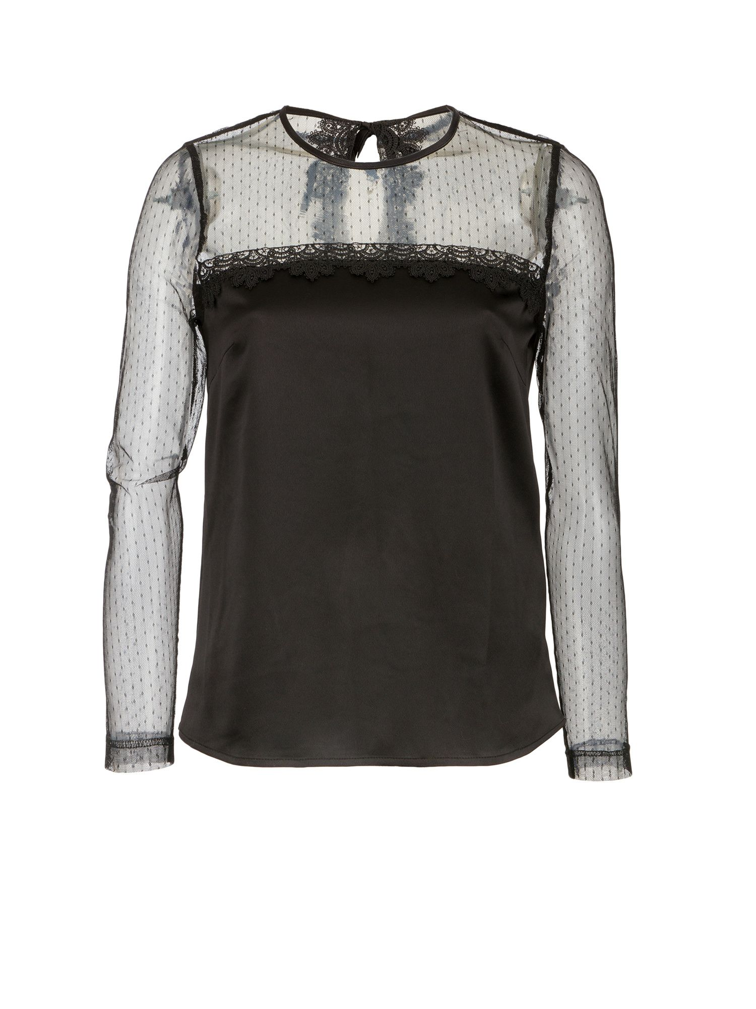 Morgan Plumetis Lace And Satin Top, Black