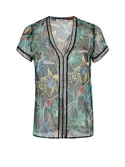 Exotic Print Chiffon Top