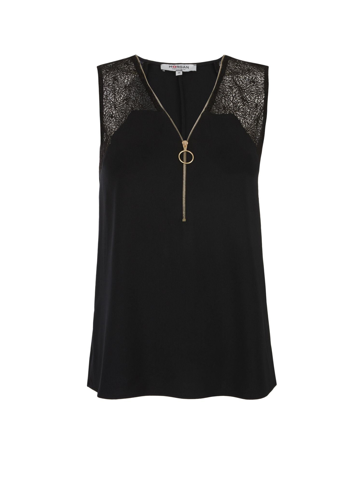 Morgan Crepe And Lace Zippered Top, Black