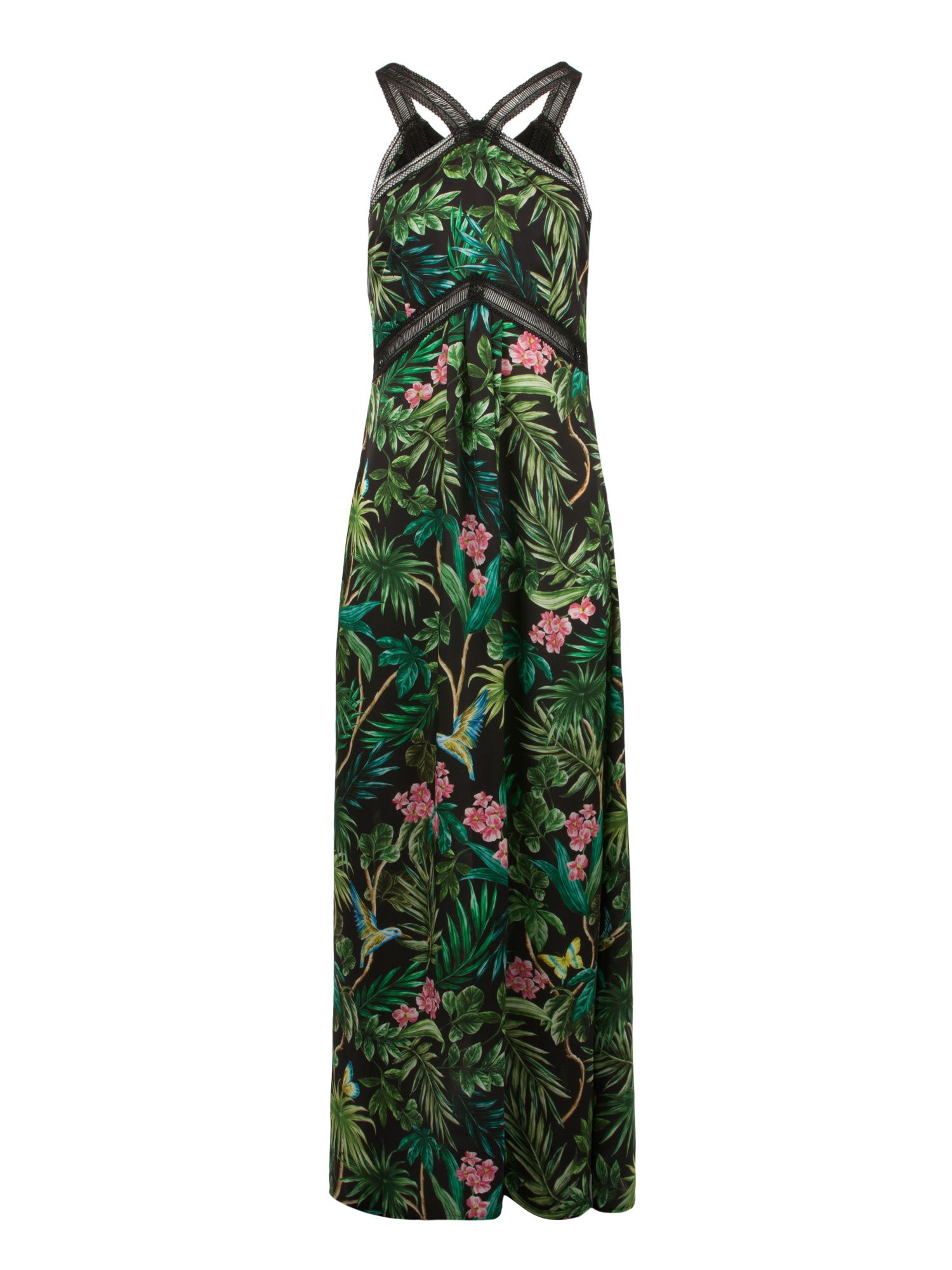 Morgan Exotic Print Silk Maxi Dress, Black Multi