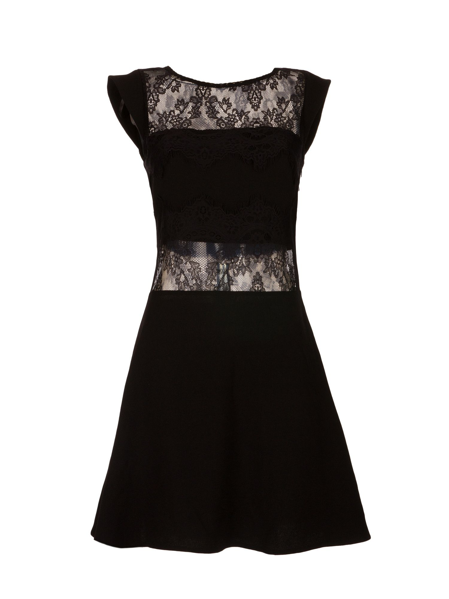 Morgan Crepe And Lace Flared Dress, Black