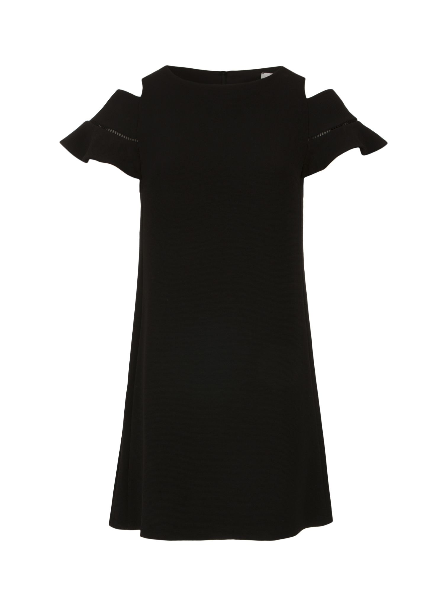Morgan A-Line Dress With Open Shoulders, Black