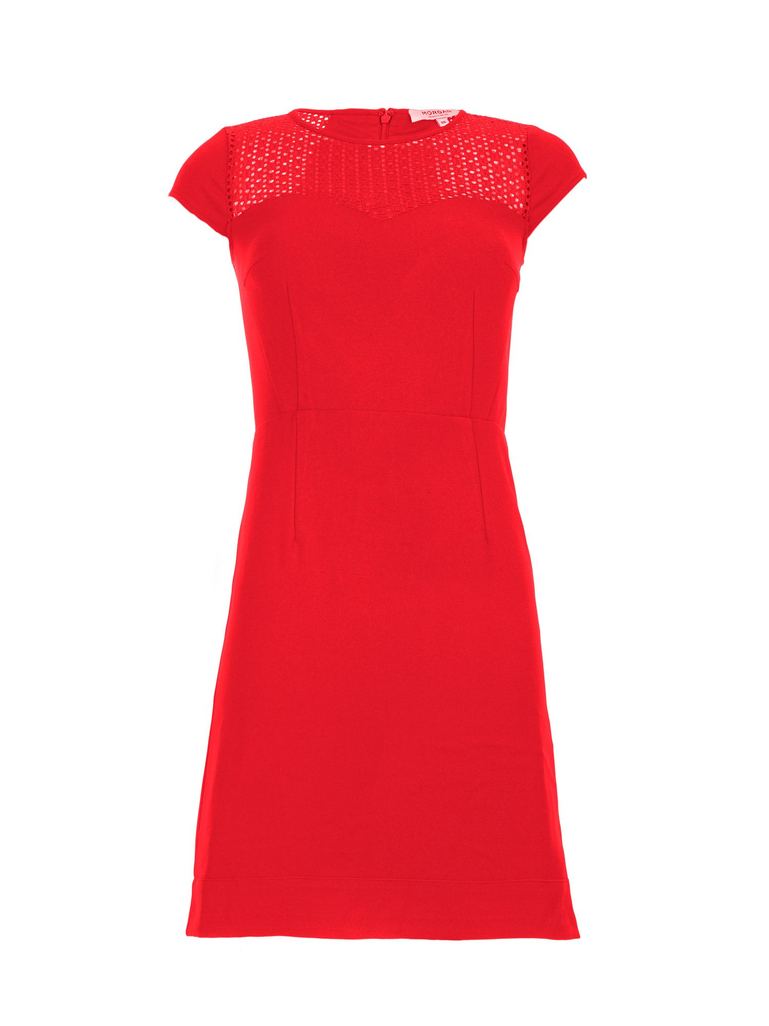 Morgan Openwork Knit And Crepe Dress, Red