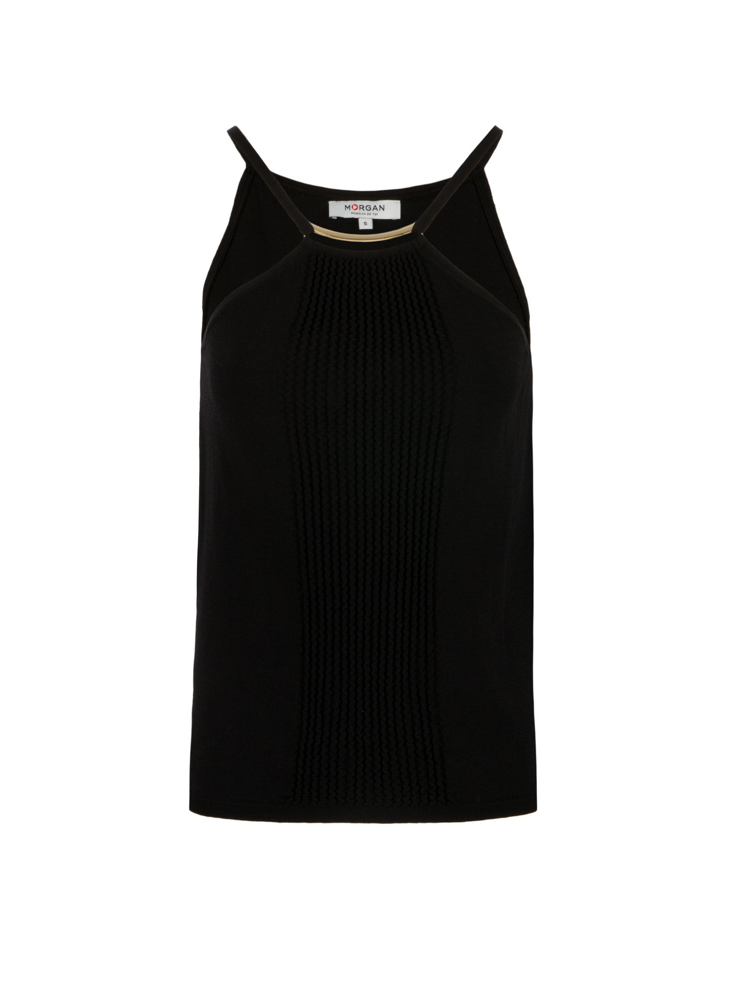 Morgan Embossed Knit Tank Top Black