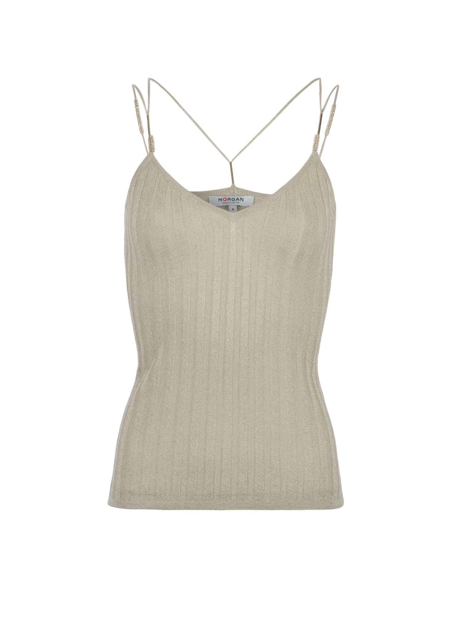 Morgan Beads Embellished Lurex Knit Tank Top Beige