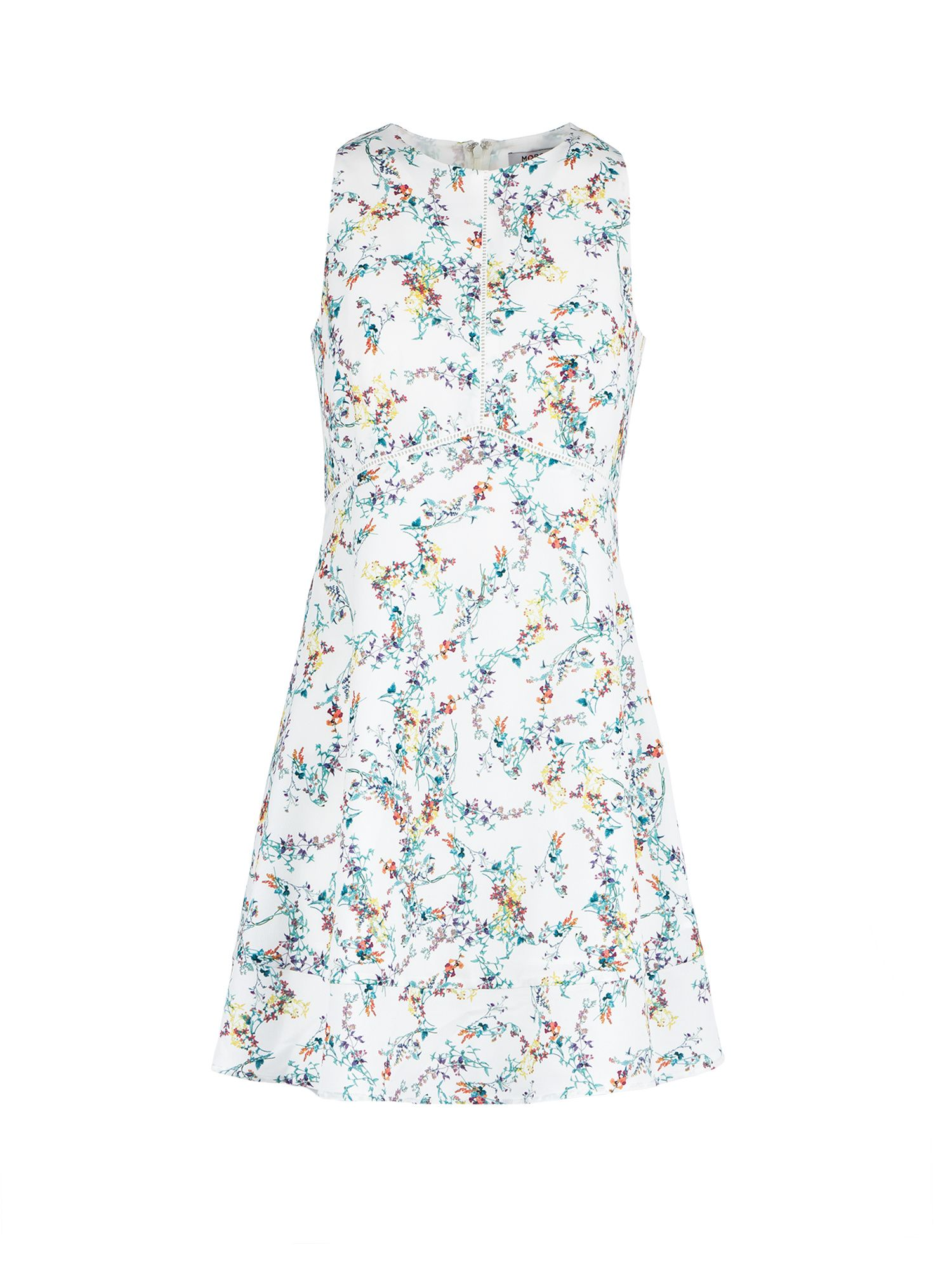 Morgan Flower Print Sleeveless Dress, Off White