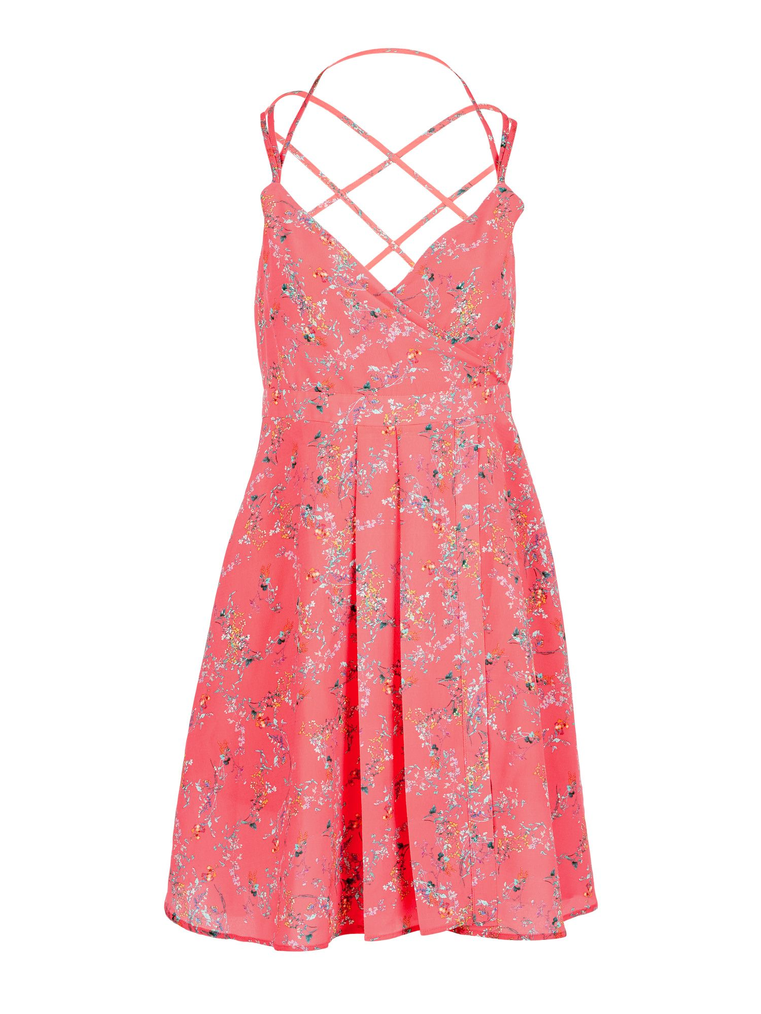 Morgan Criss Cross Straps Flower Print Dress, Coral