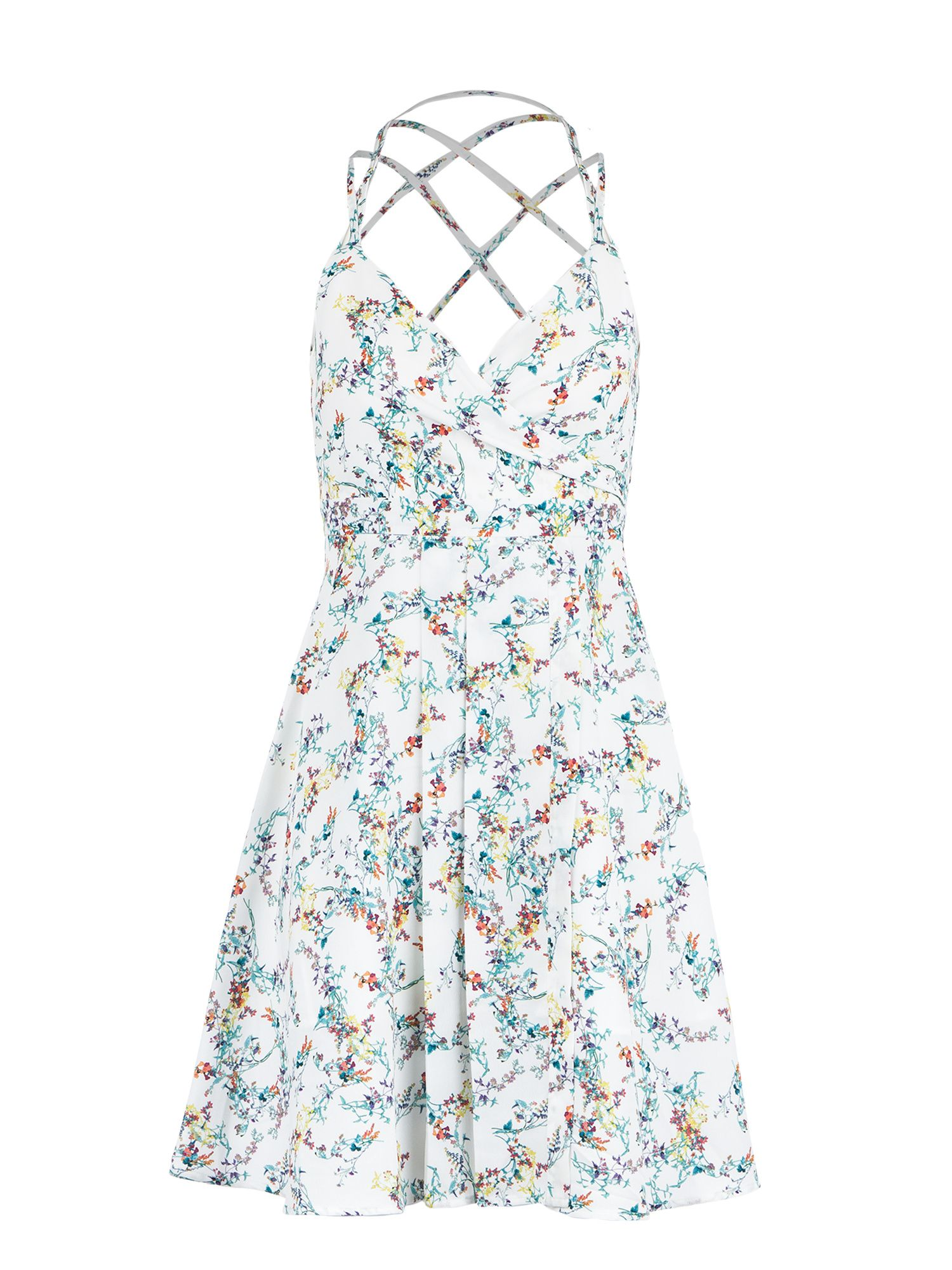 Morgan Criss Cross Straps Flower Print Dress, Off White