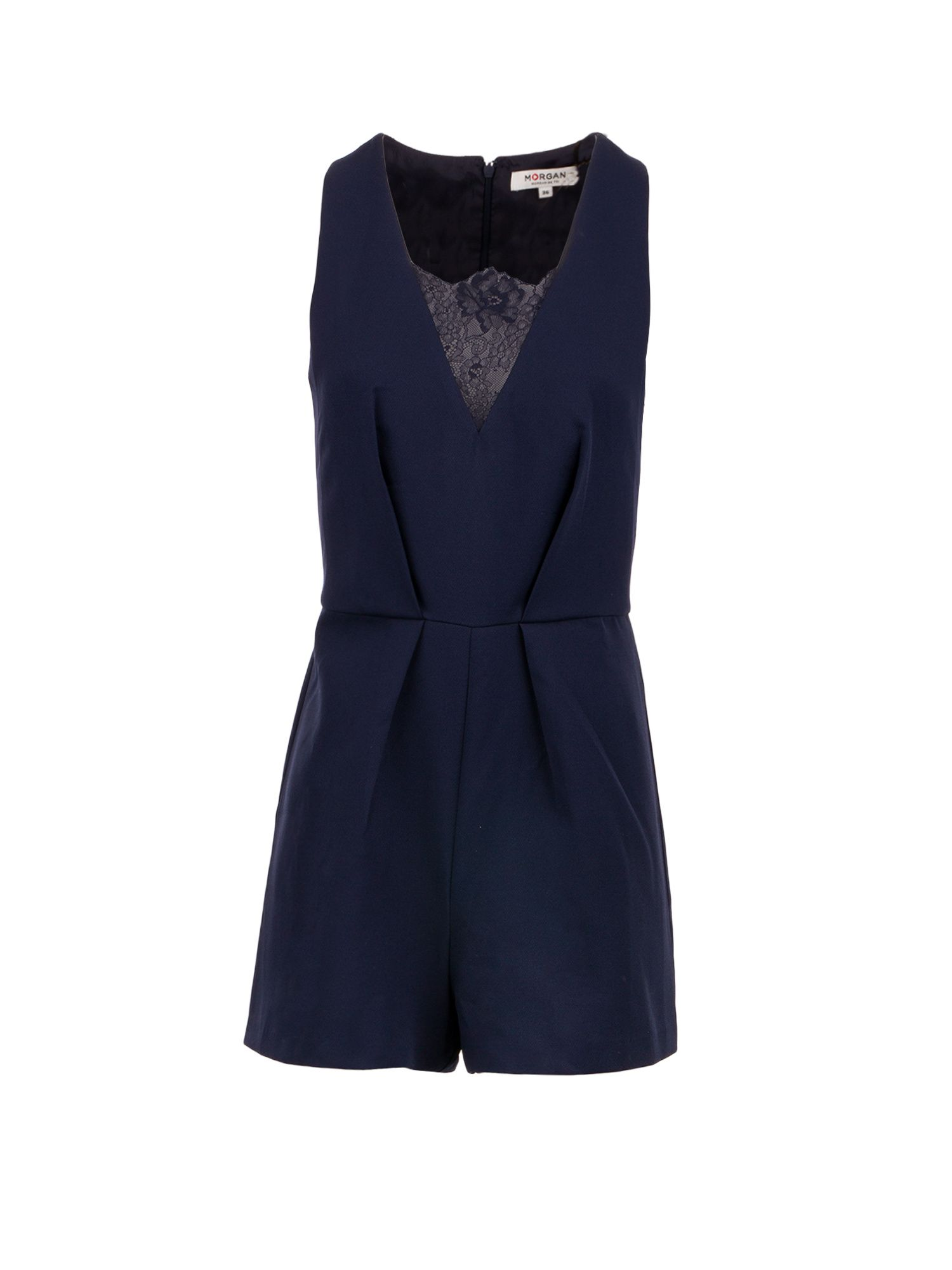 Morgan Sergé And Lace Jumpsuit, Blue