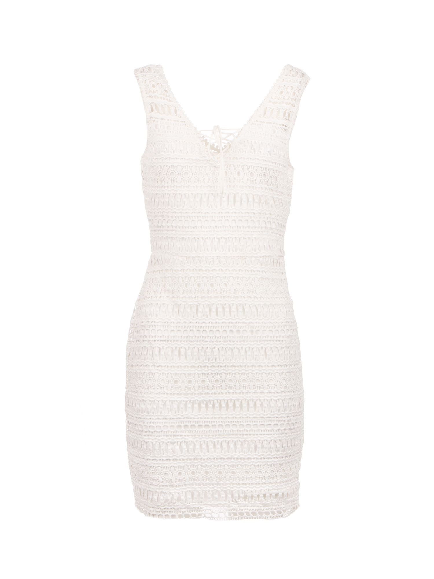 Morgan Lace Up Crochet Knit Dress, Off White