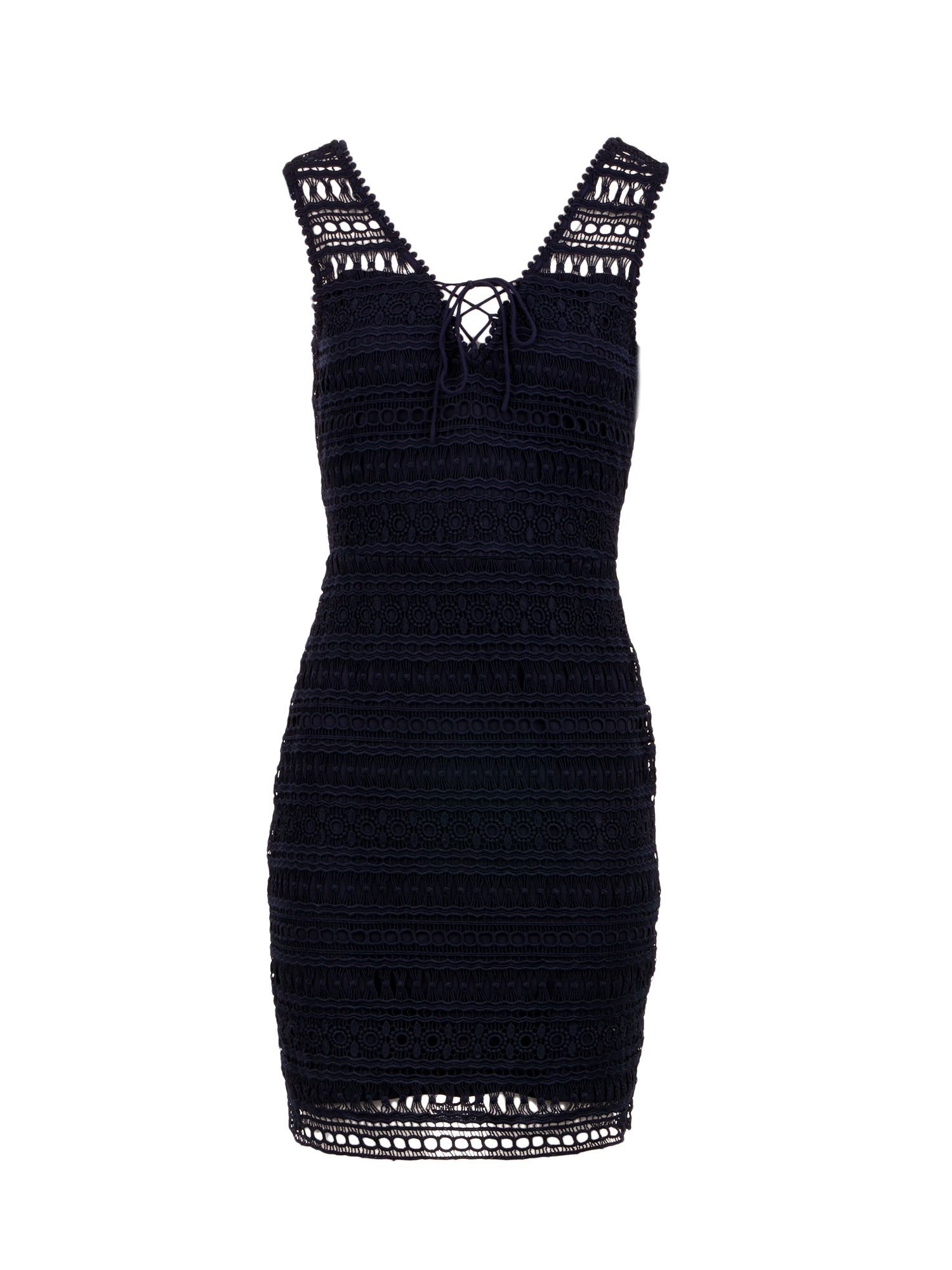 Morgan Lace Up Crochet Knit Dress, Blue