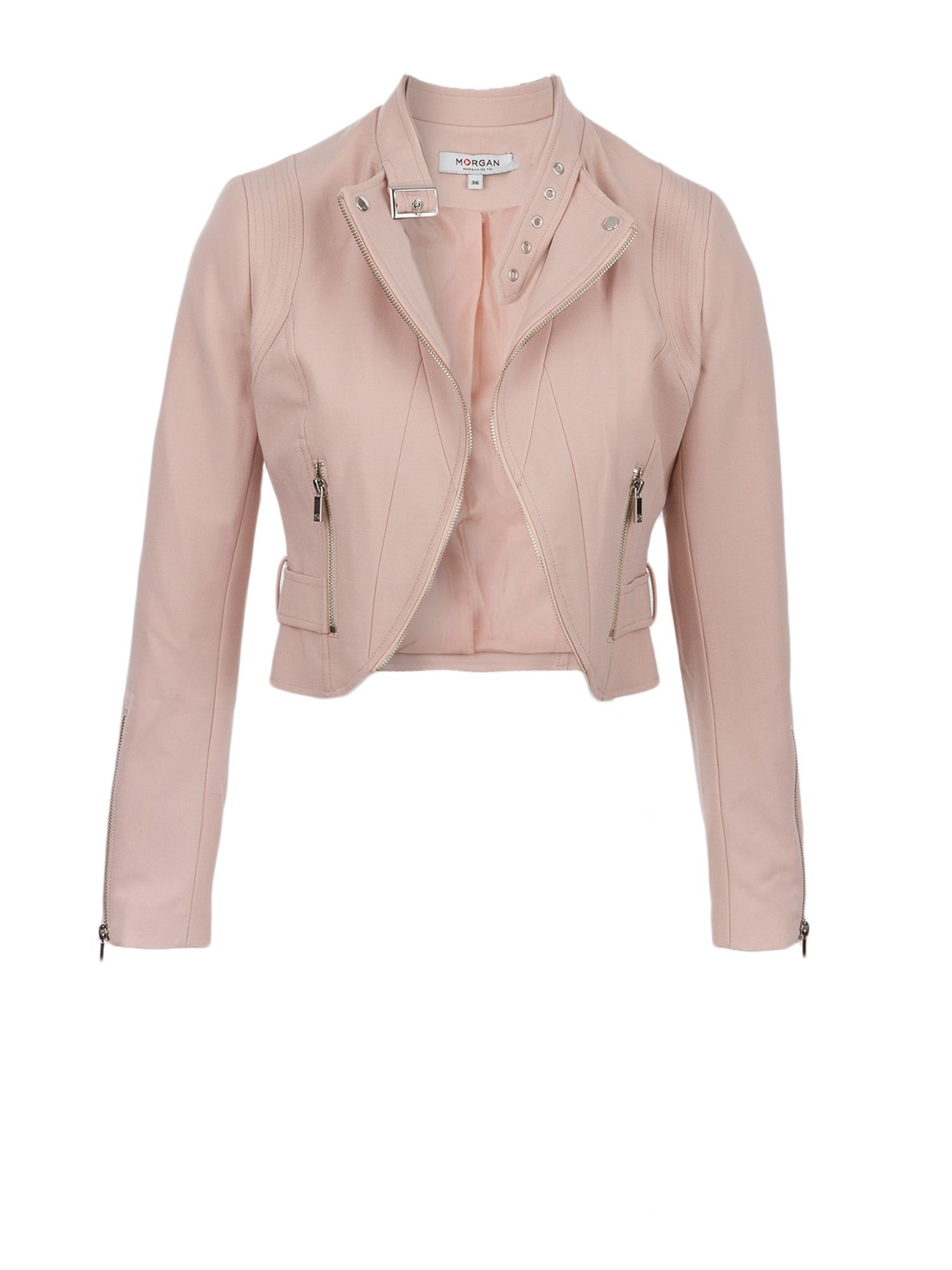 Morgan Crepe Zipped Crop Jacket, Pink