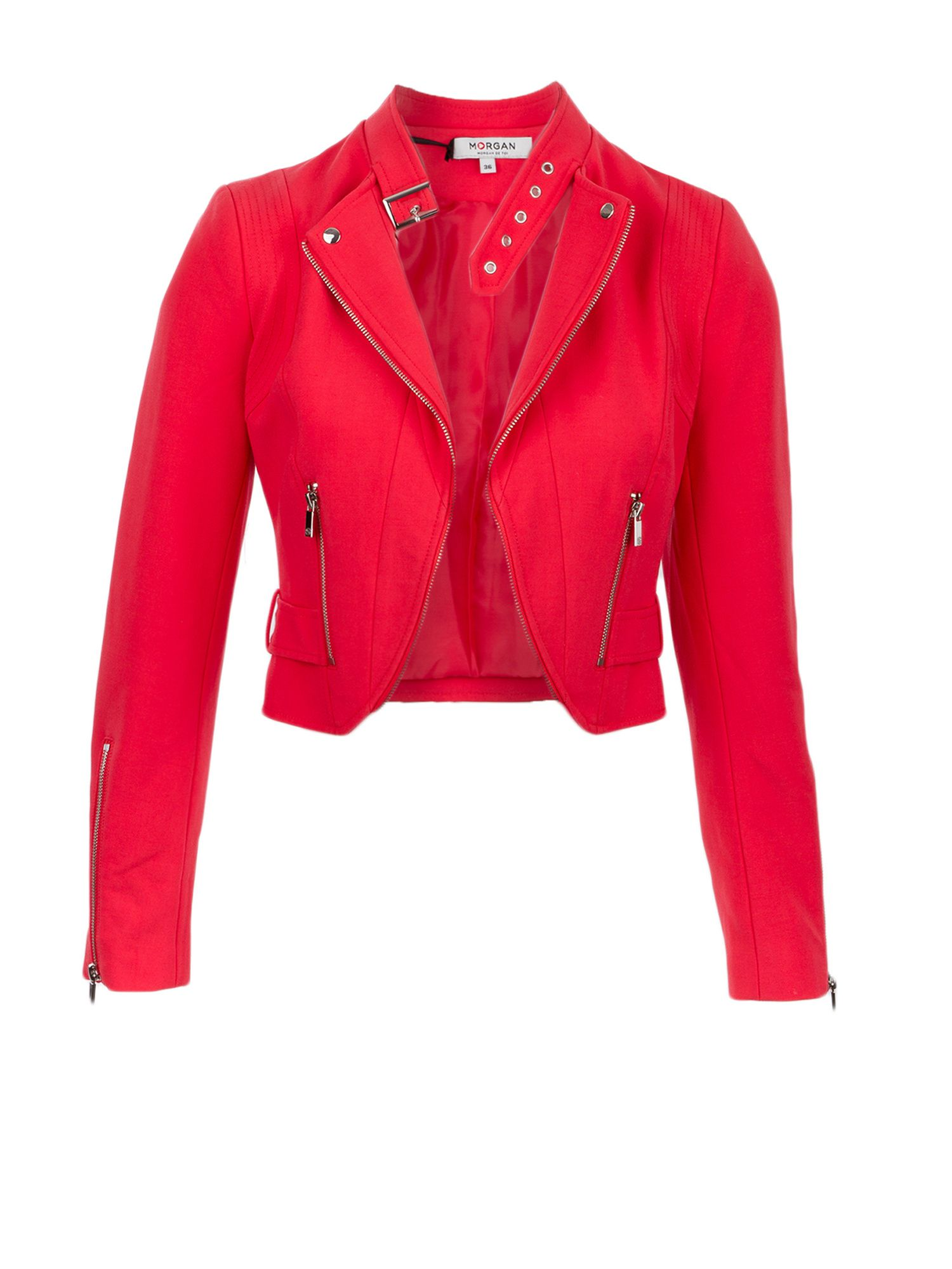 Morgan Crepe Zipped Crop Jacket, Coral