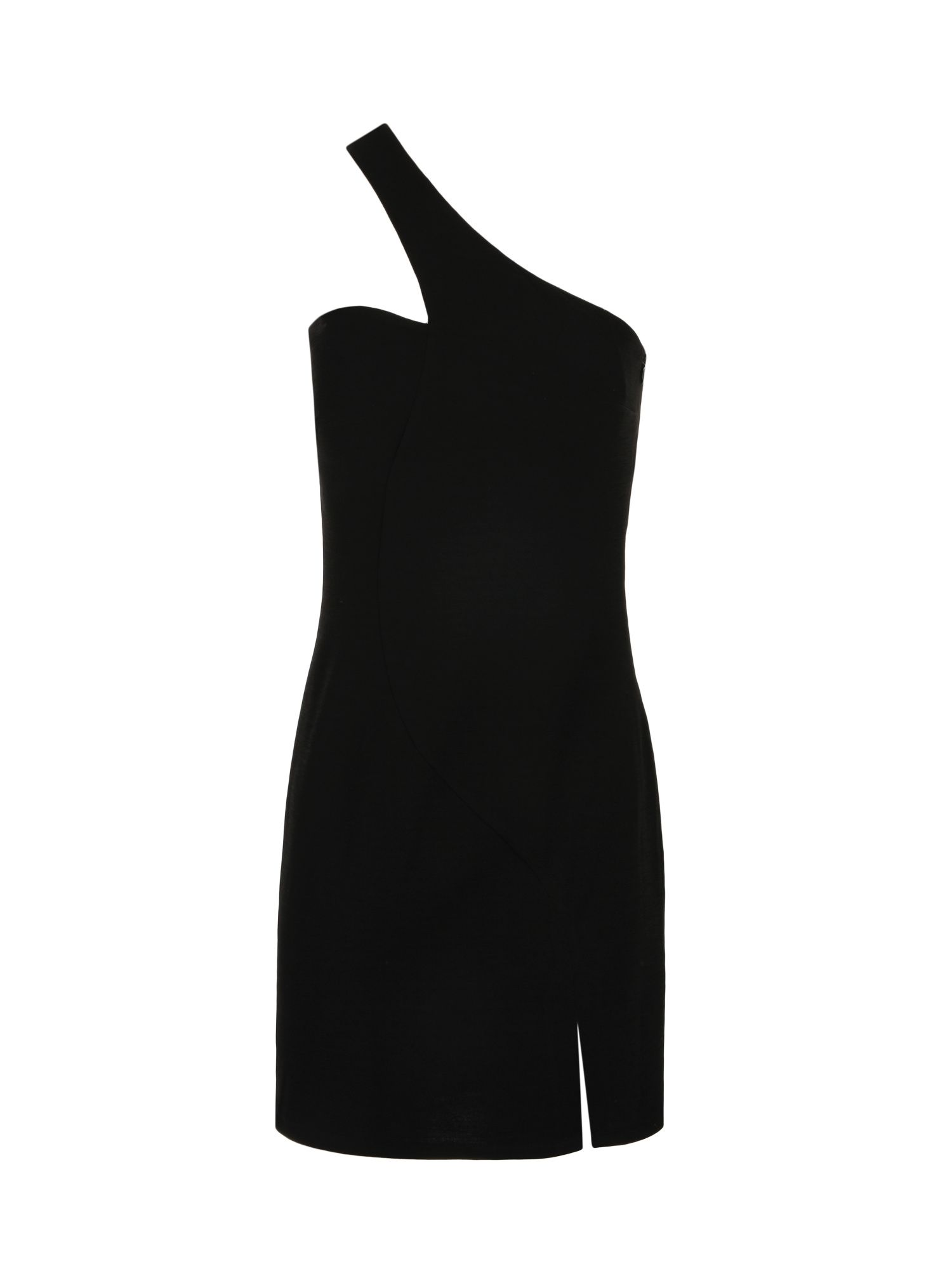 Morgan Stretch Knit Asymmetrical Dress, Black