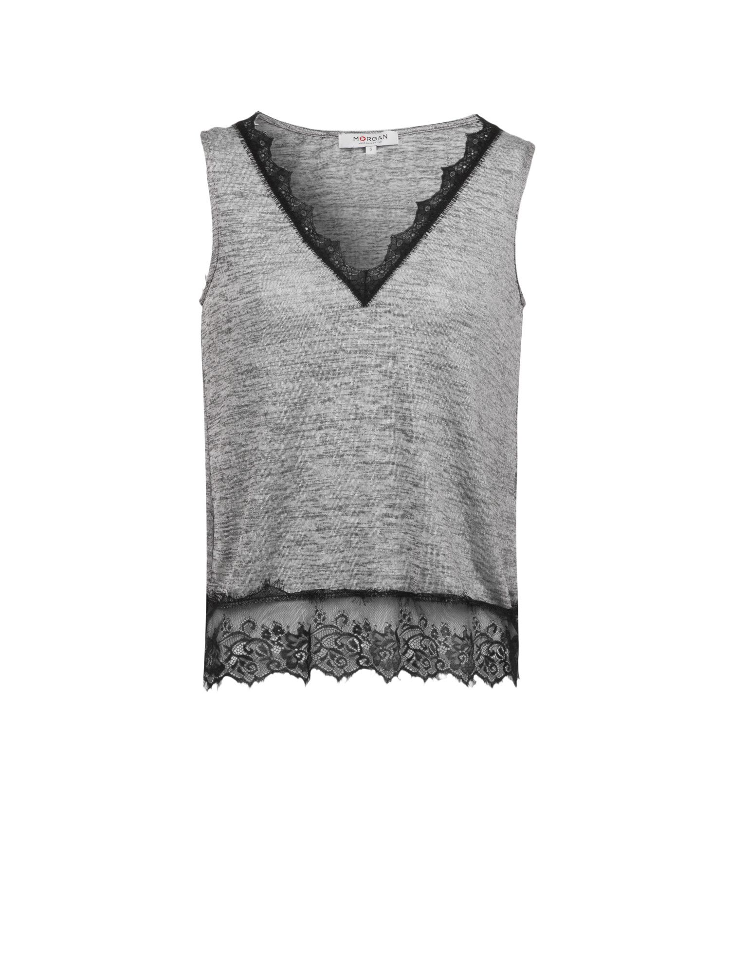 Morgan Heathered Knit And Lace Tank Top Grey