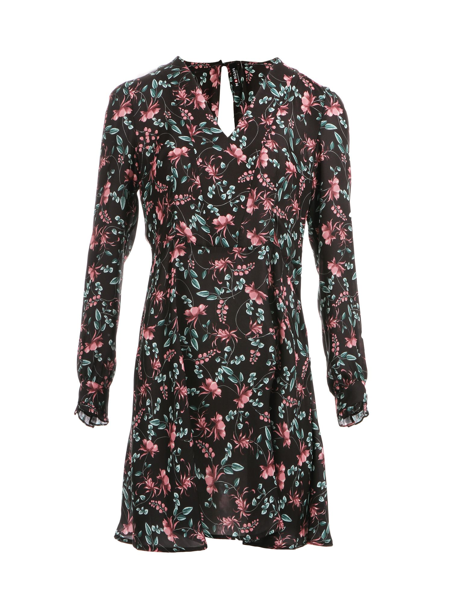 Morgan Flower Print Satin Dress, Black