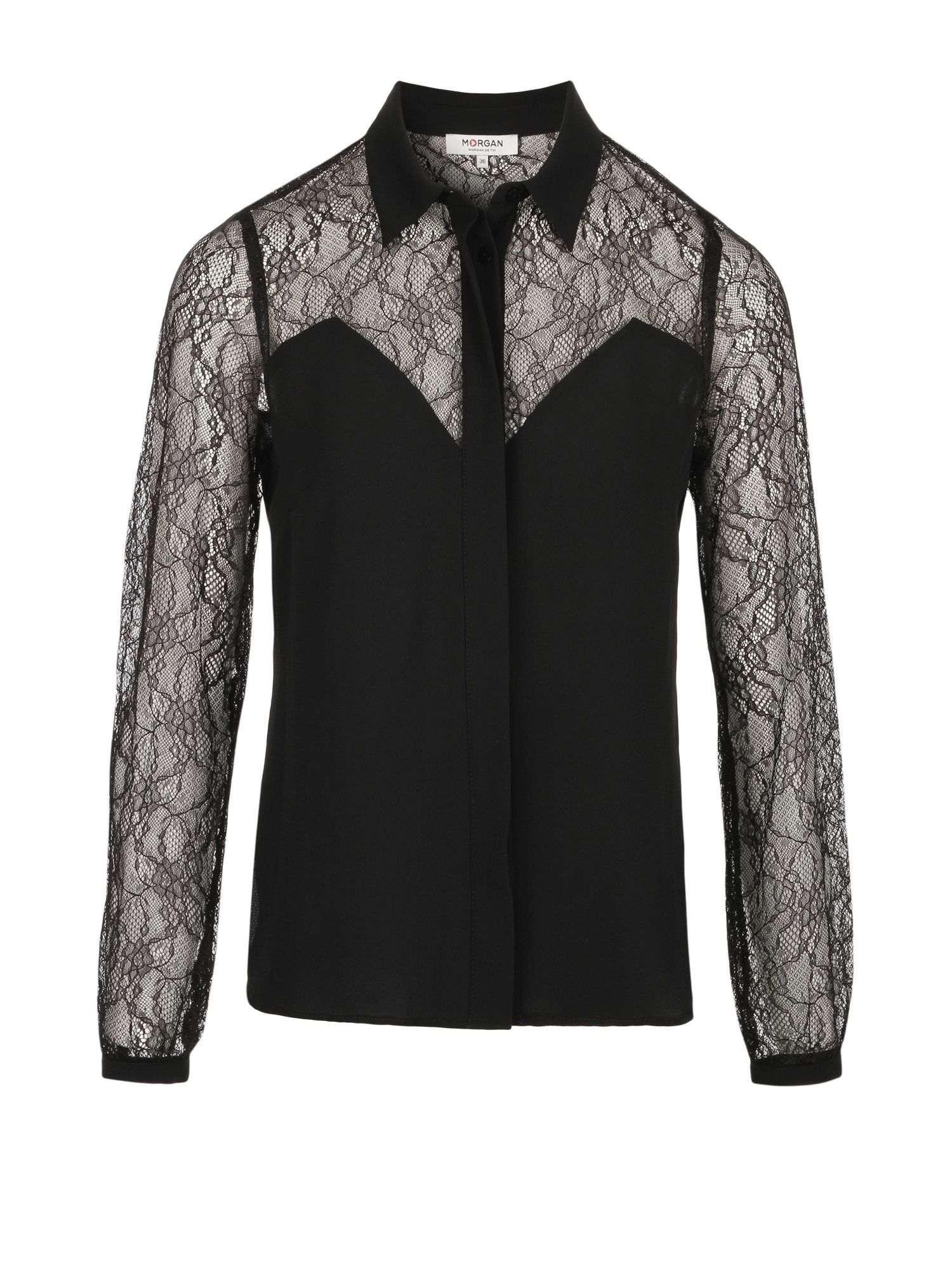 Morgan Crepe And Lace Shirt, Black