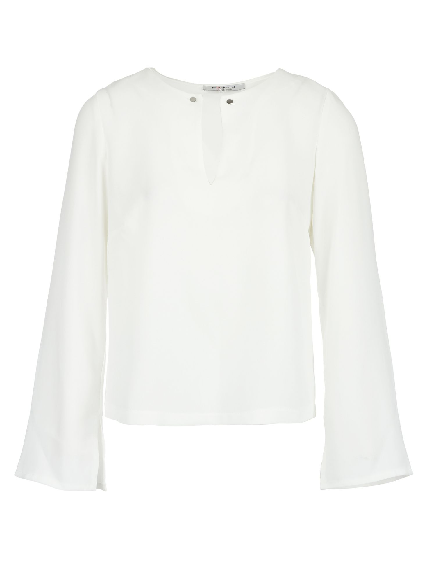 Morgan Necklace Embellished Crepe Blouse, White