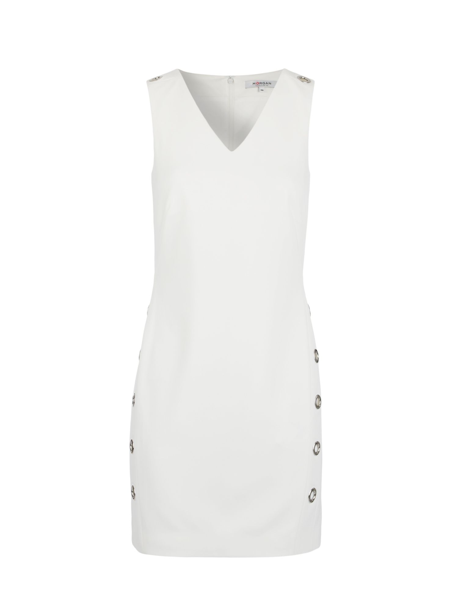 Morgan Twill Dress With Eyelets, Off White