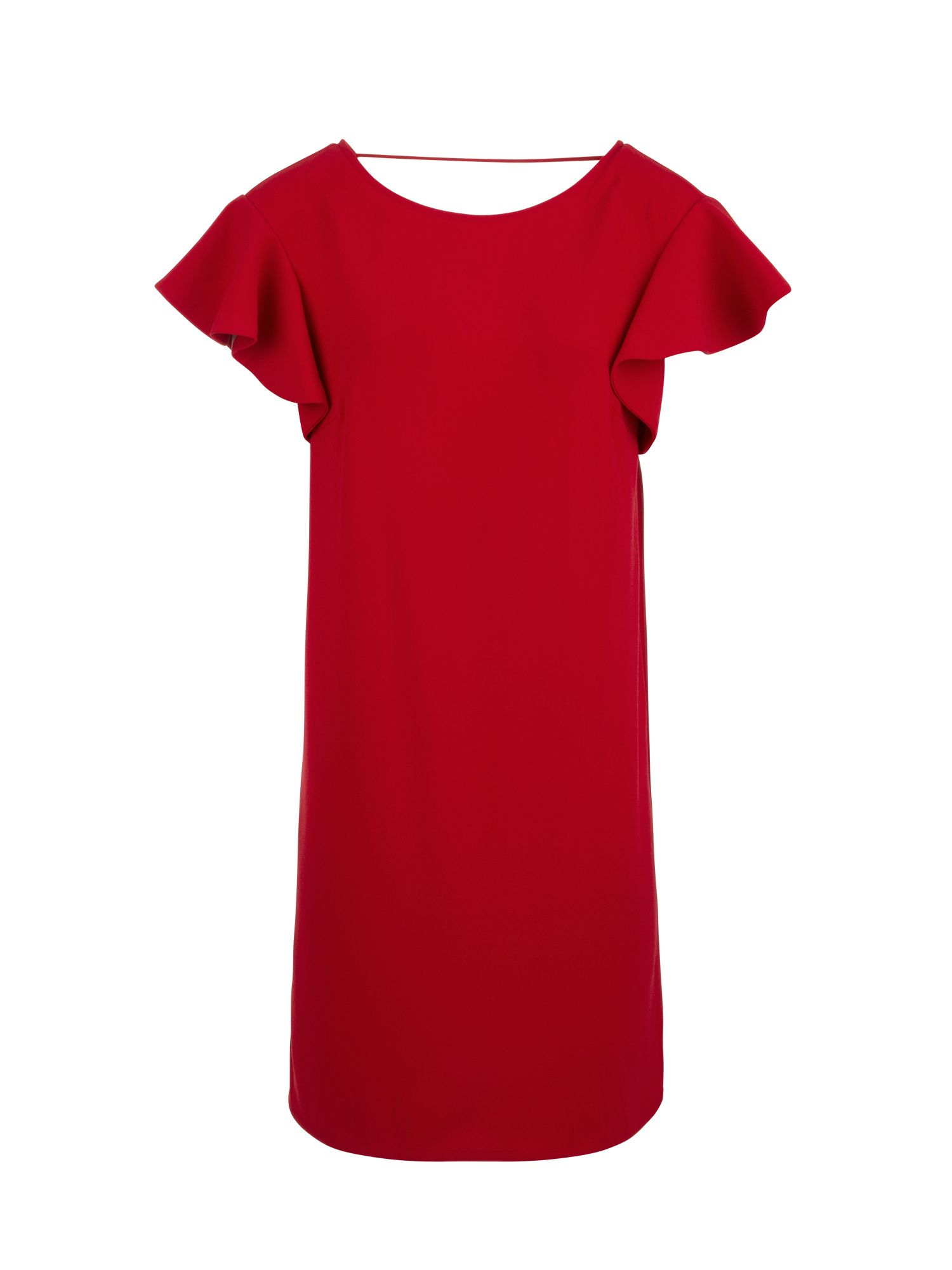 Morgan Crepe Dress With Ruffled Sleeves, Red