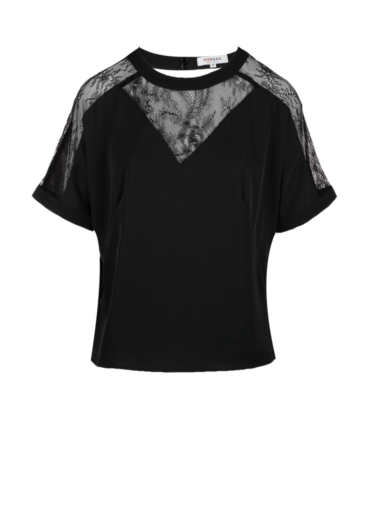 Morgan Satin And Lace Blouse, Black