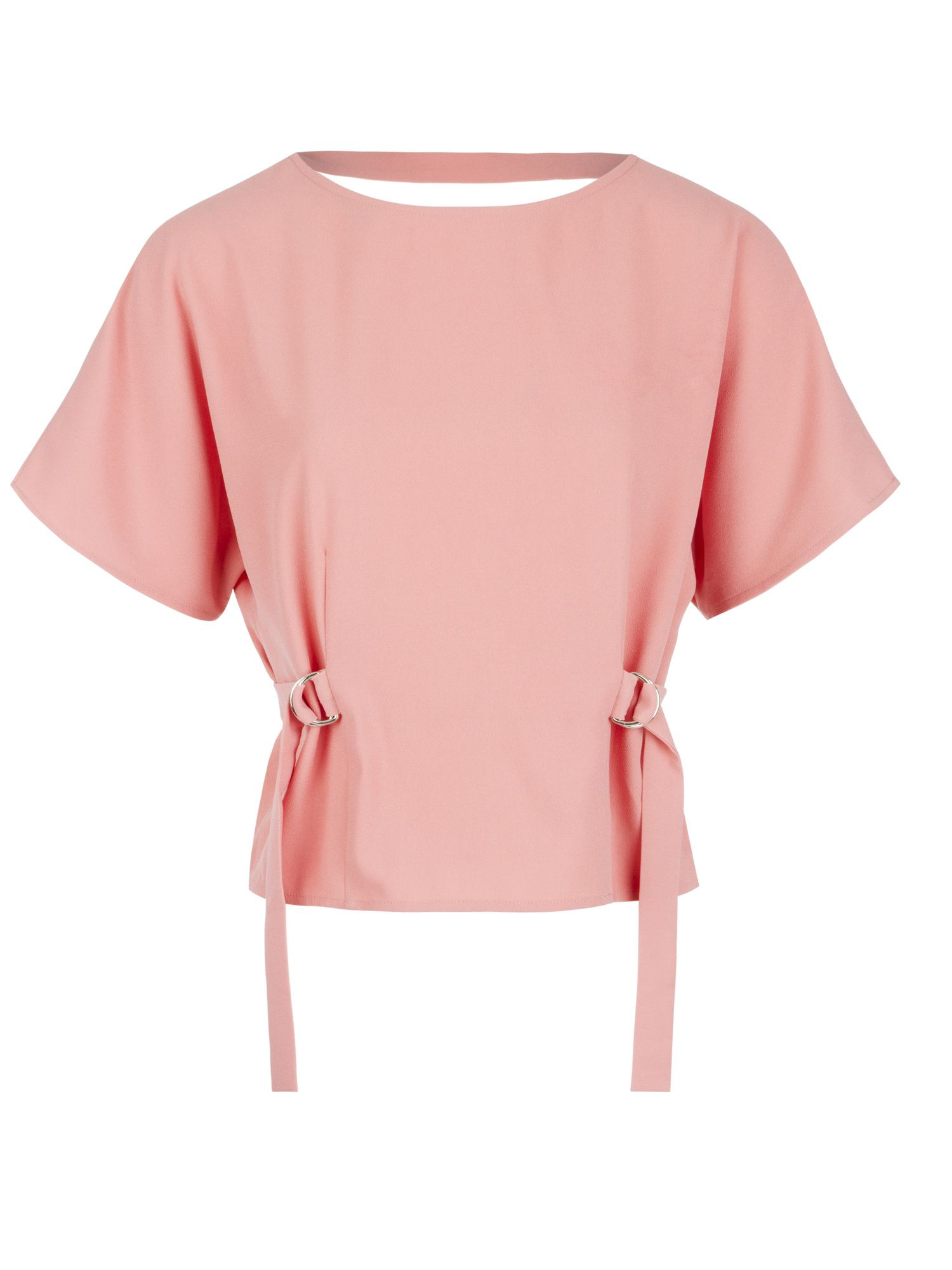 Morgan Fluid Crepe Top With Open Back, Rose