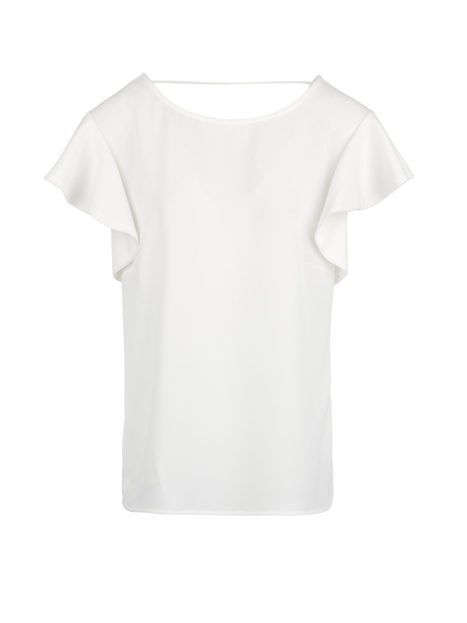 Morgan Crepe Top With Ruffled Sleeves, Off White