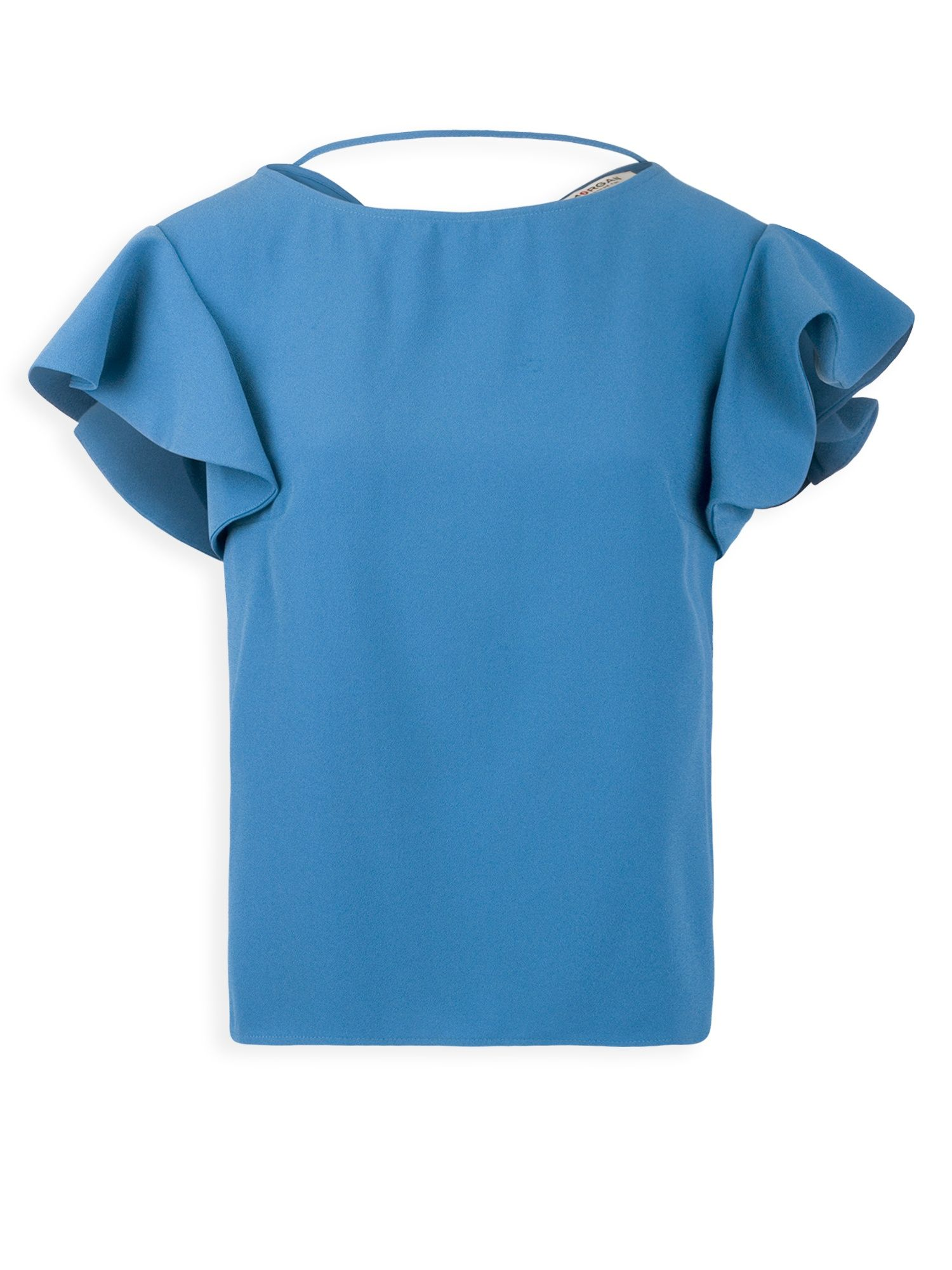 Morgan Crepe Top With Ruffled Sleeves, Indigo