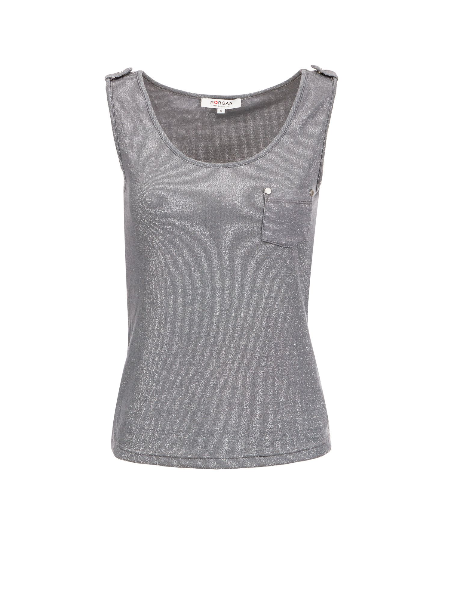 Morgan Metallic Knit Tank Top, Light Grey