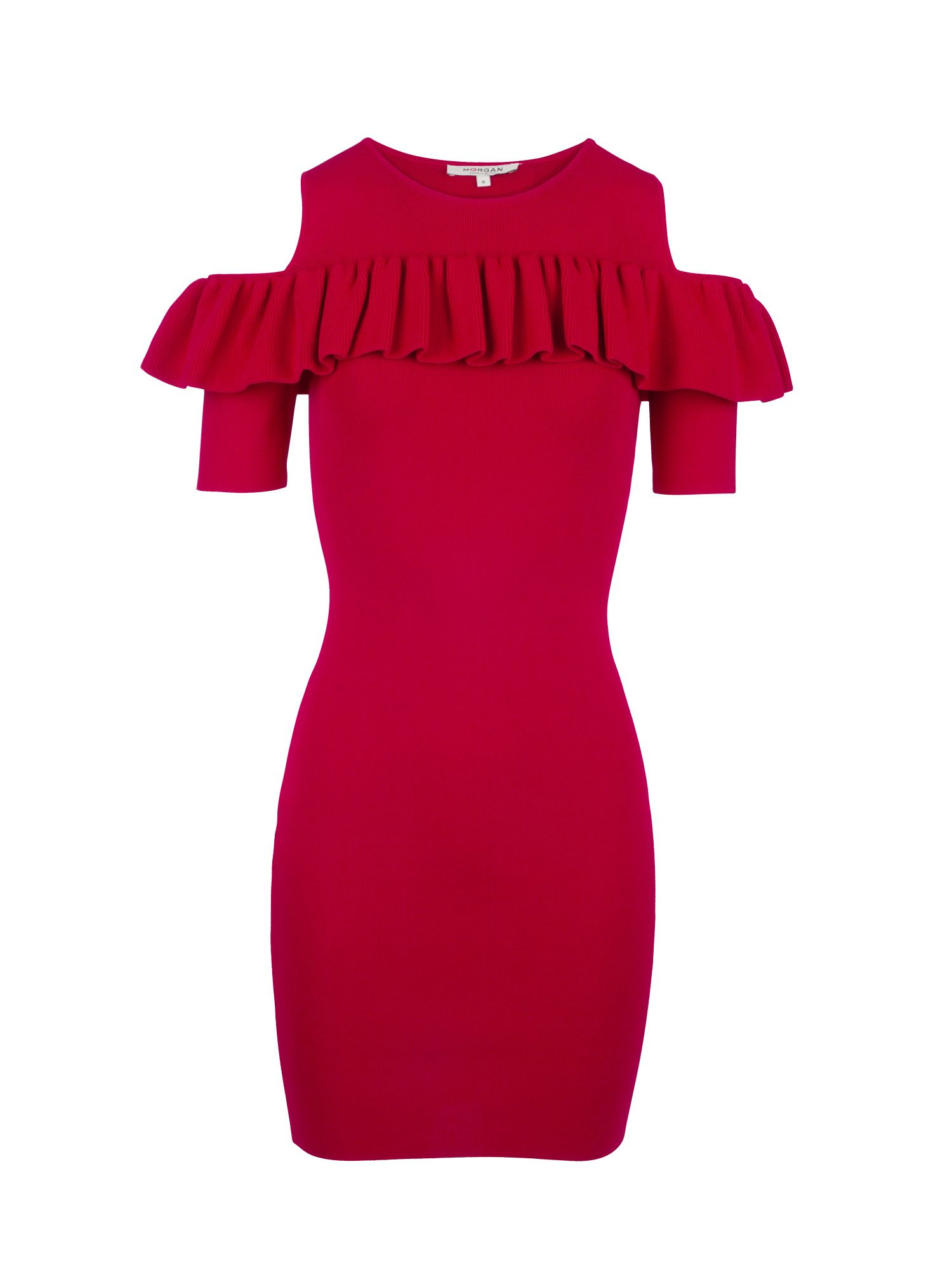 Morgan Bodycon Knit Dress With Ruffle, Red