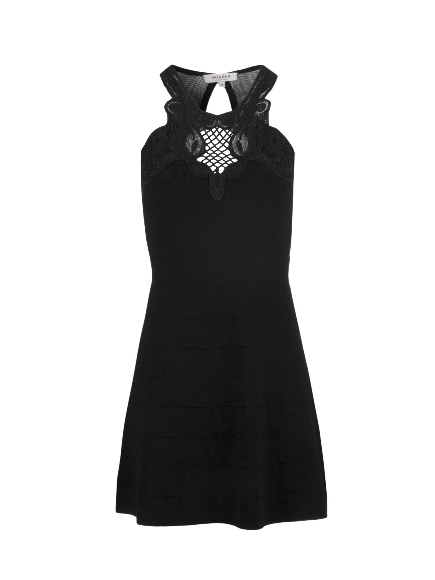 Morgan Knit Dress With Guipure Lace Neckline, Black