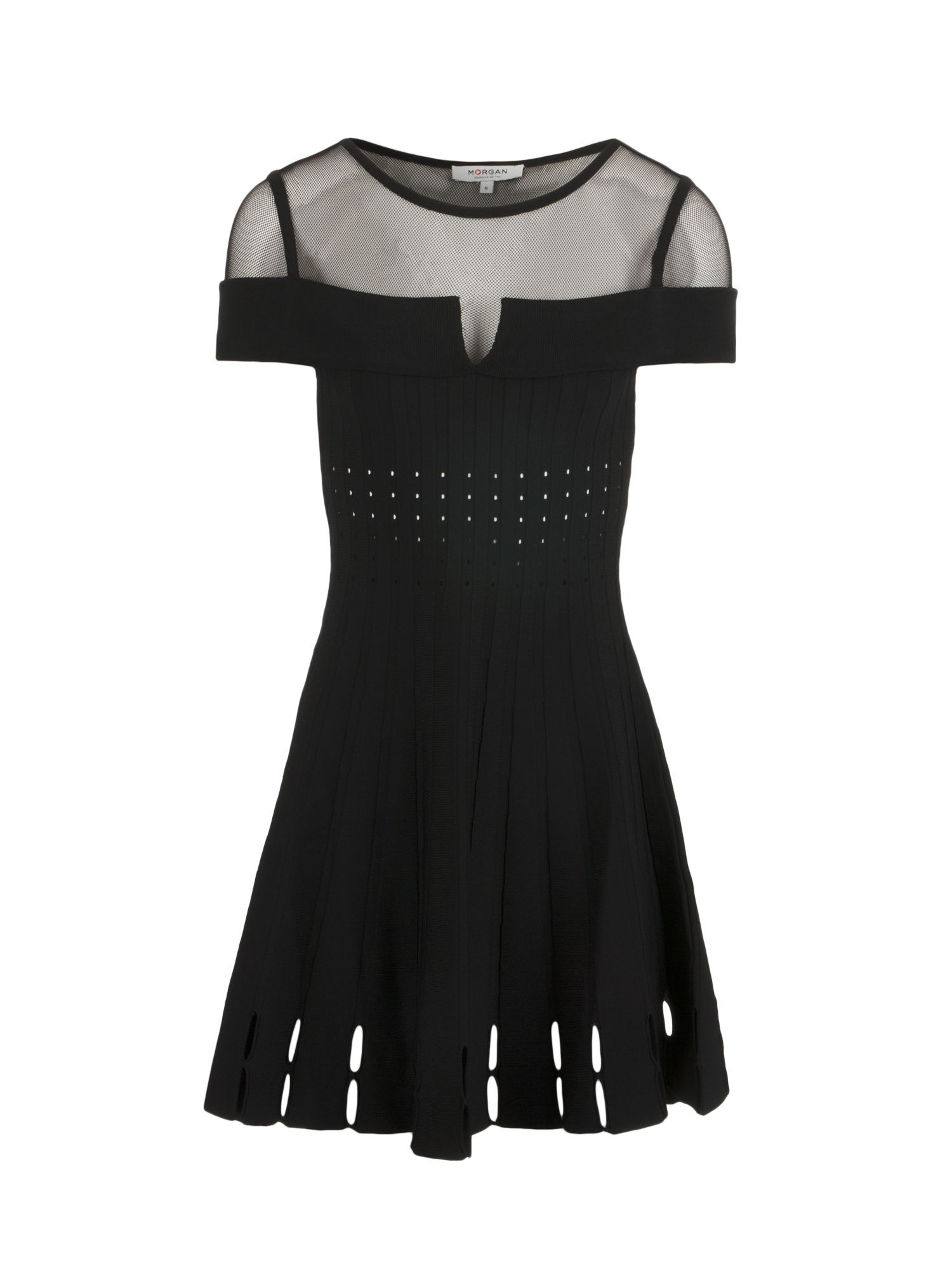 Morgan Openwork Knit And Mesh Dress, Black