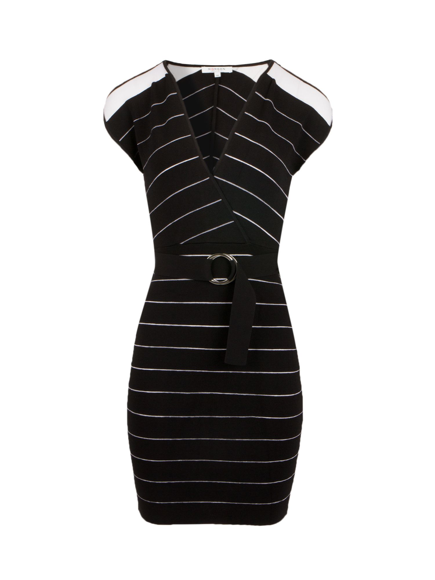 Morgan Bodycon Knit Dress With Openwork Stripes, Black