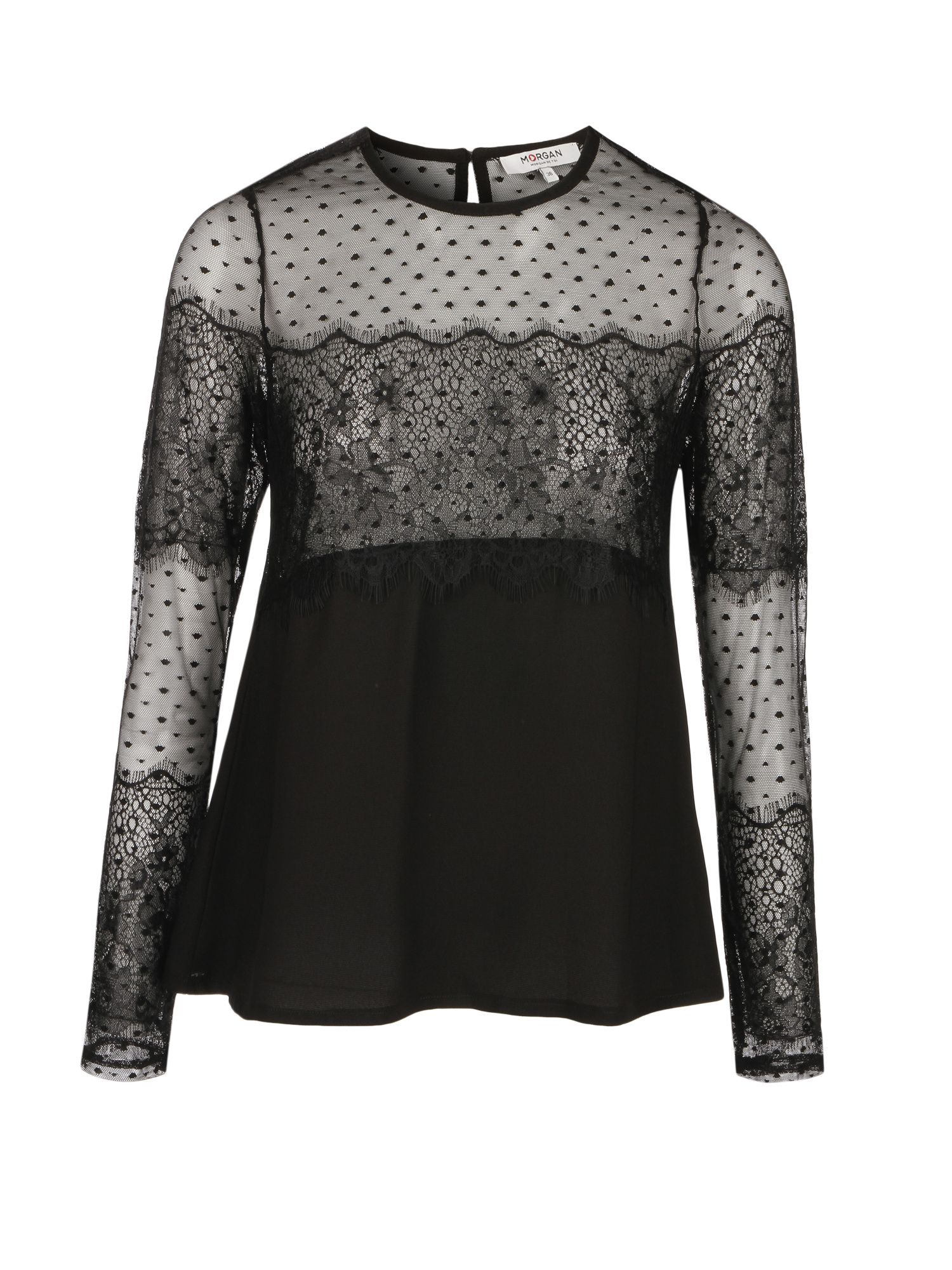 Morgan Crepe And Lace Top, Black
