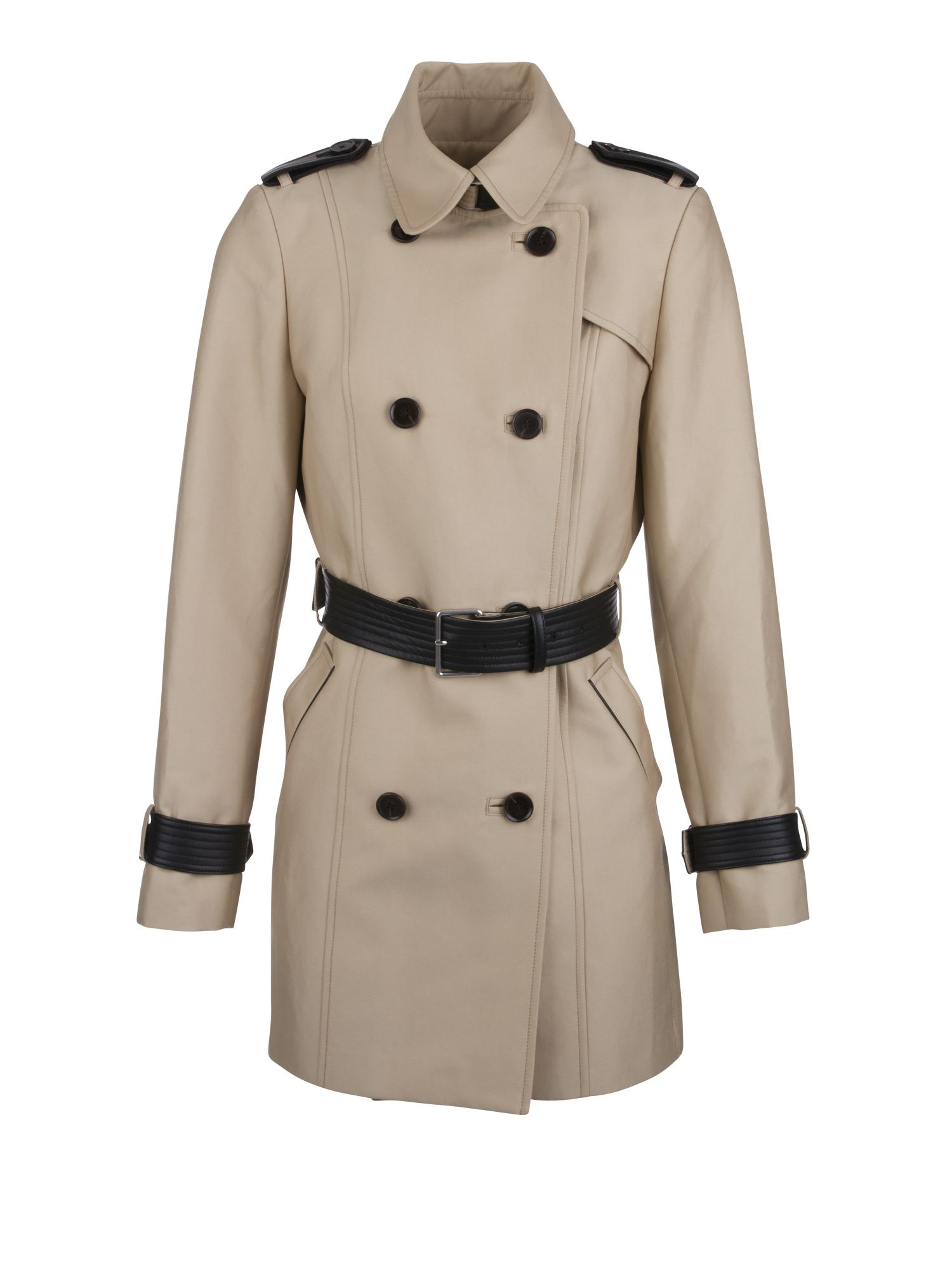 Morgan Trench With Faux Leather Trim, White