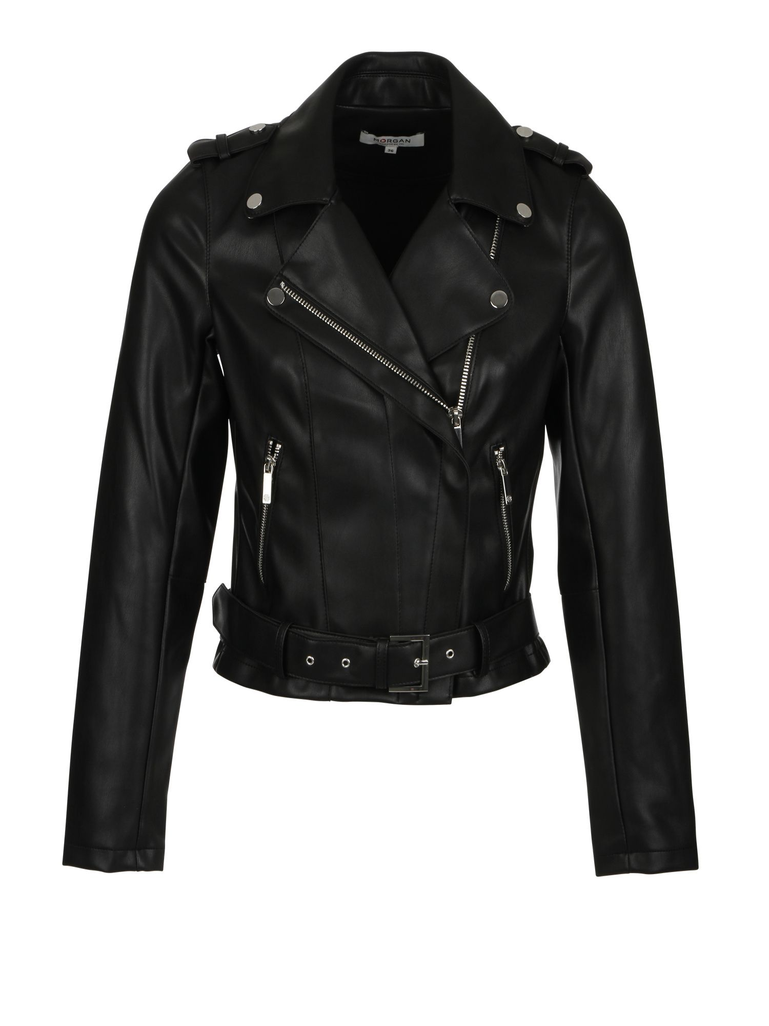 Morgan Faux Leather Biker Jacket, Black