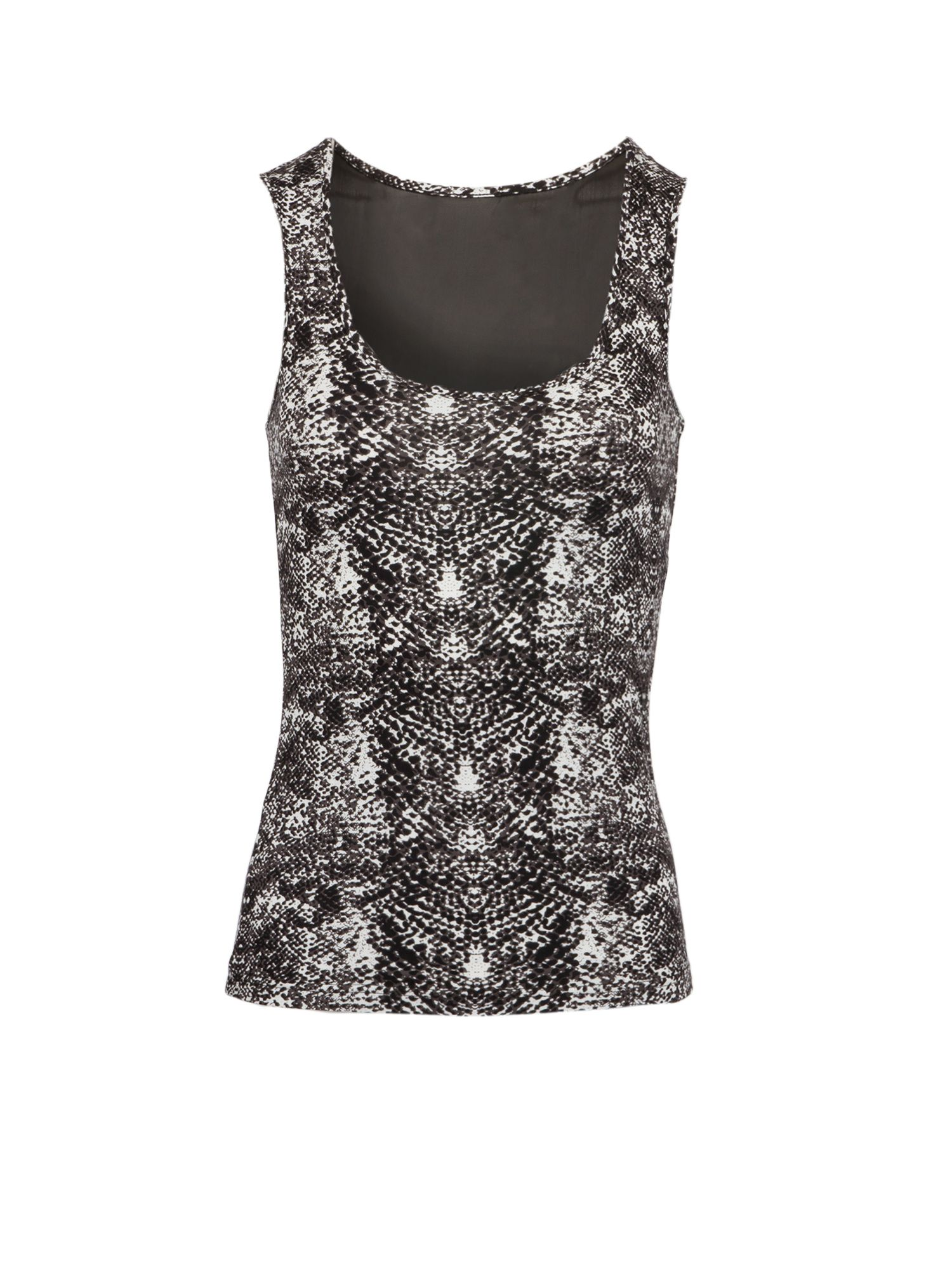 Morgan Python Print Tank Top With Fishnet Panel, Multi-Coloured