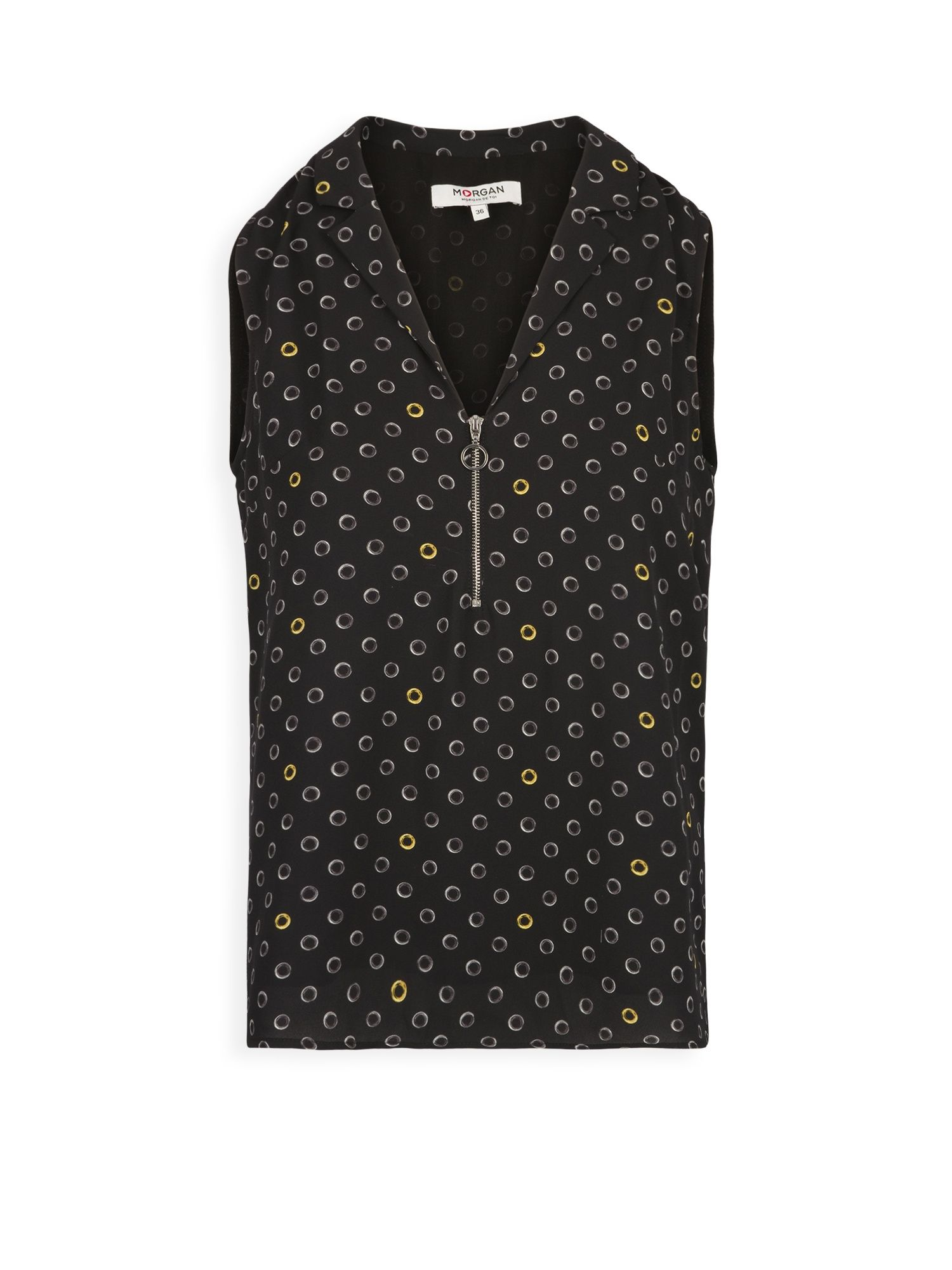 Morgan Geometric Print Blouse With Zipper, Black