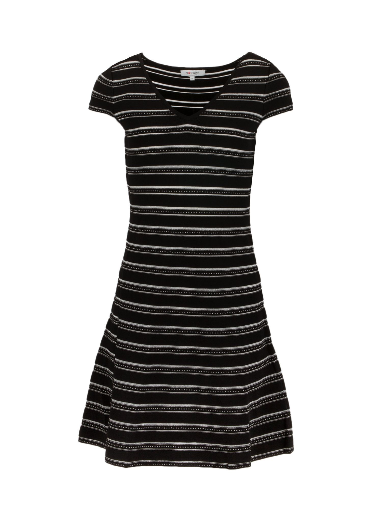 Morgan Flared Knit Dress With Metallic Threads, Black