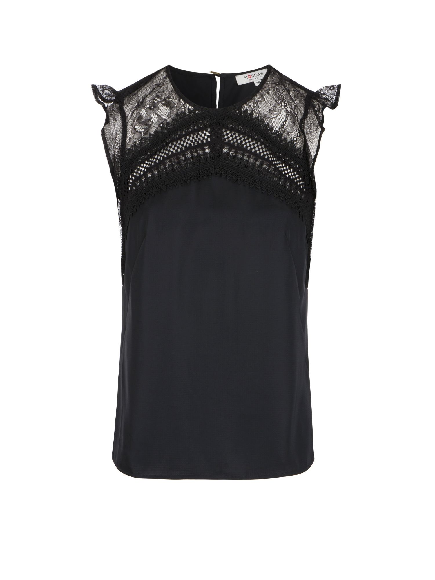 Morgan Satin And Lace Top, Black