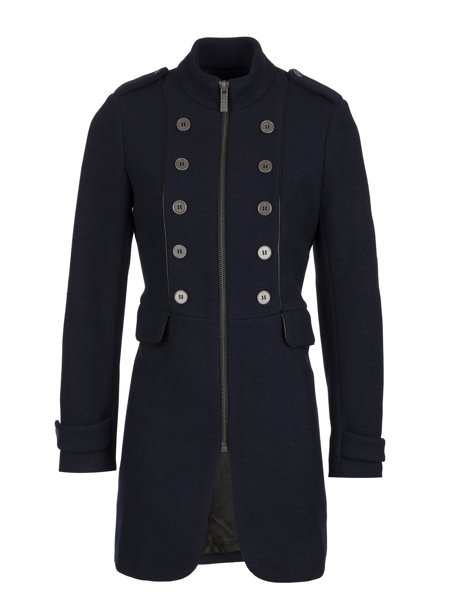 Morgan Wool Blend Military Coat, Blue