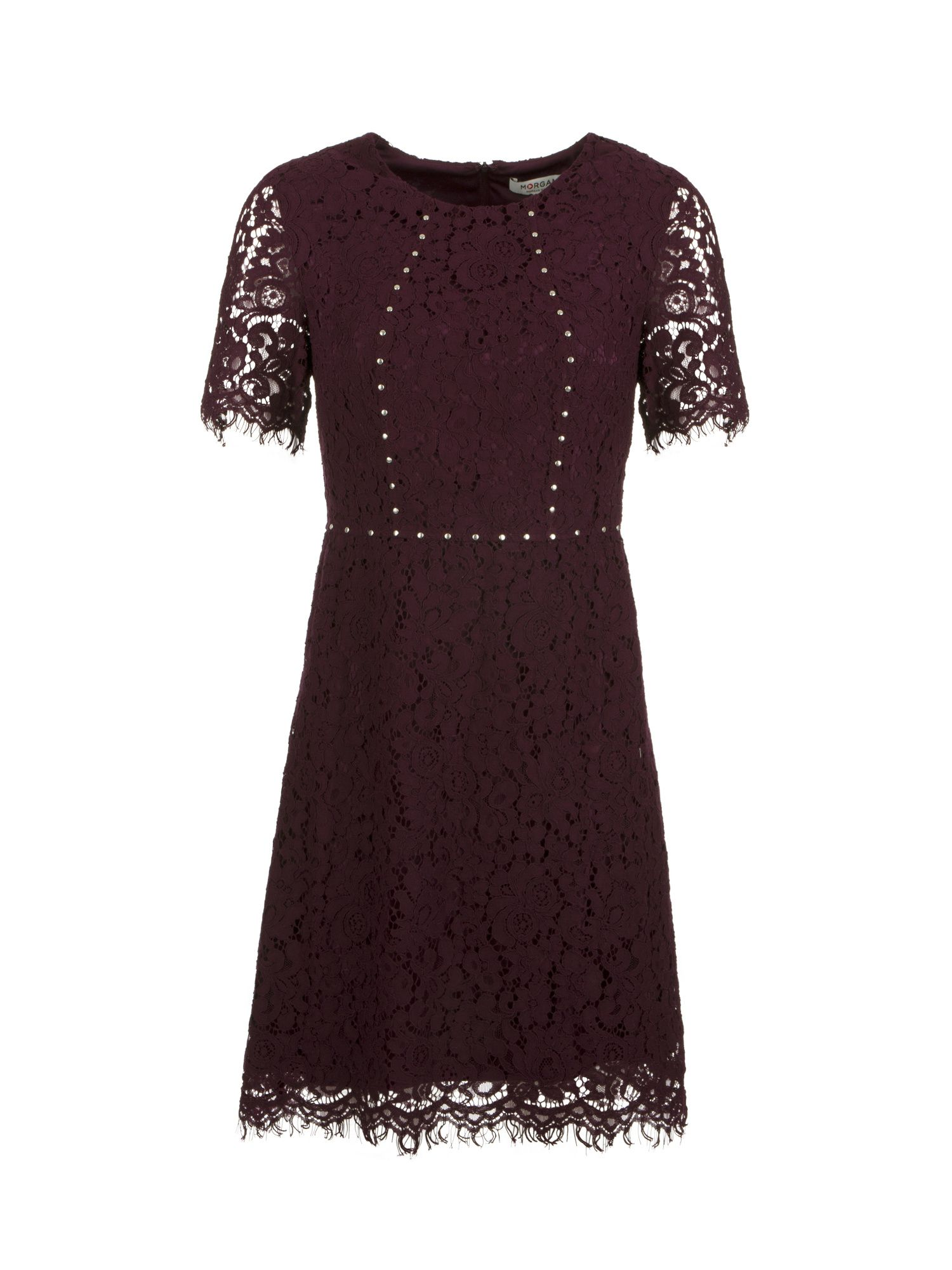 Morgan Lace Dress With Studs, Plum