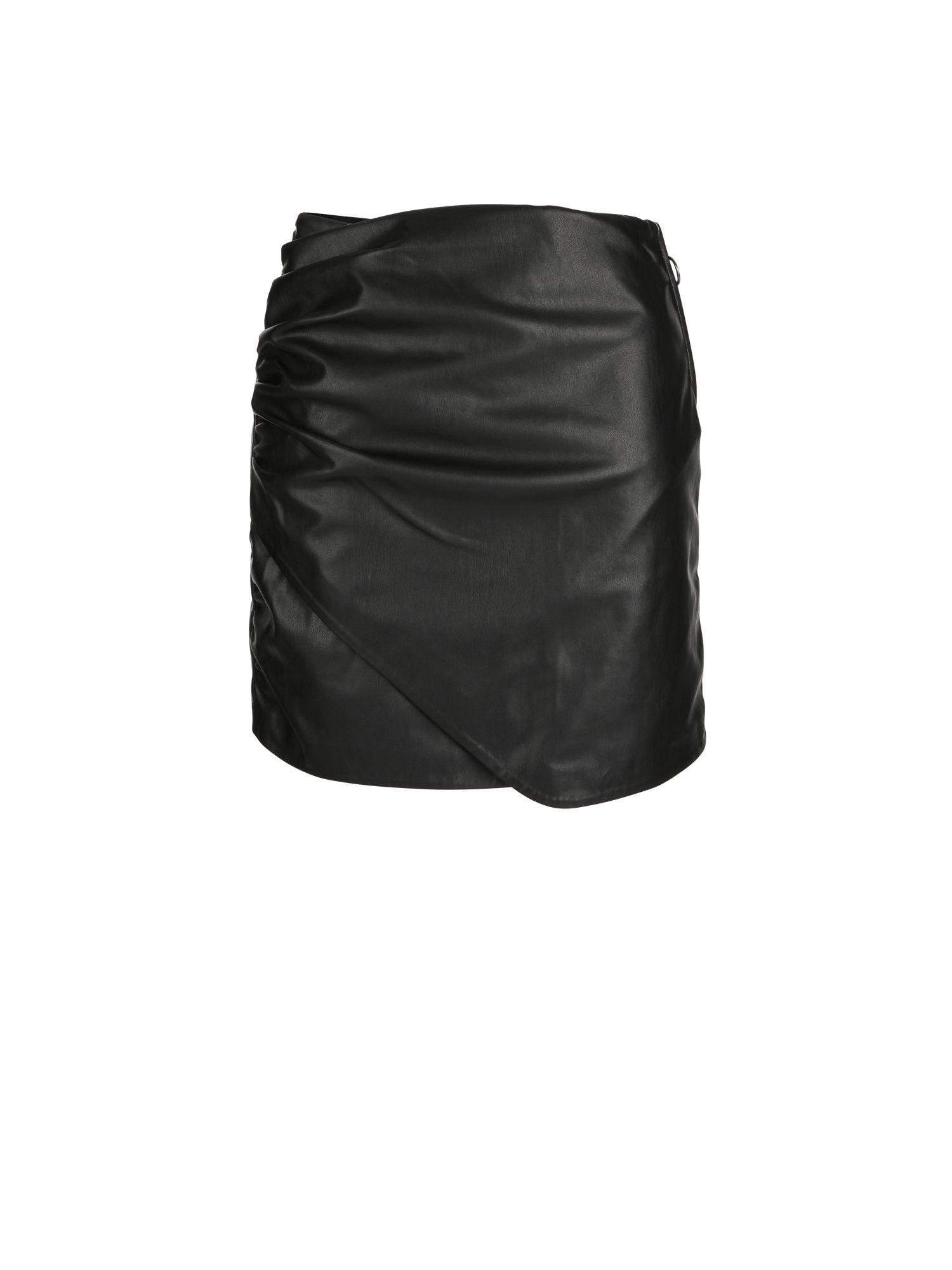 Morgan Ruched Faux Leather Miniskirt, Black