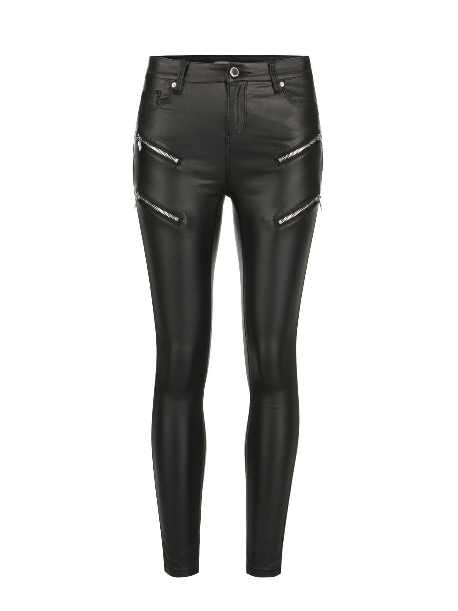 Morgan Coated Skinny Jeans With Zips, Black