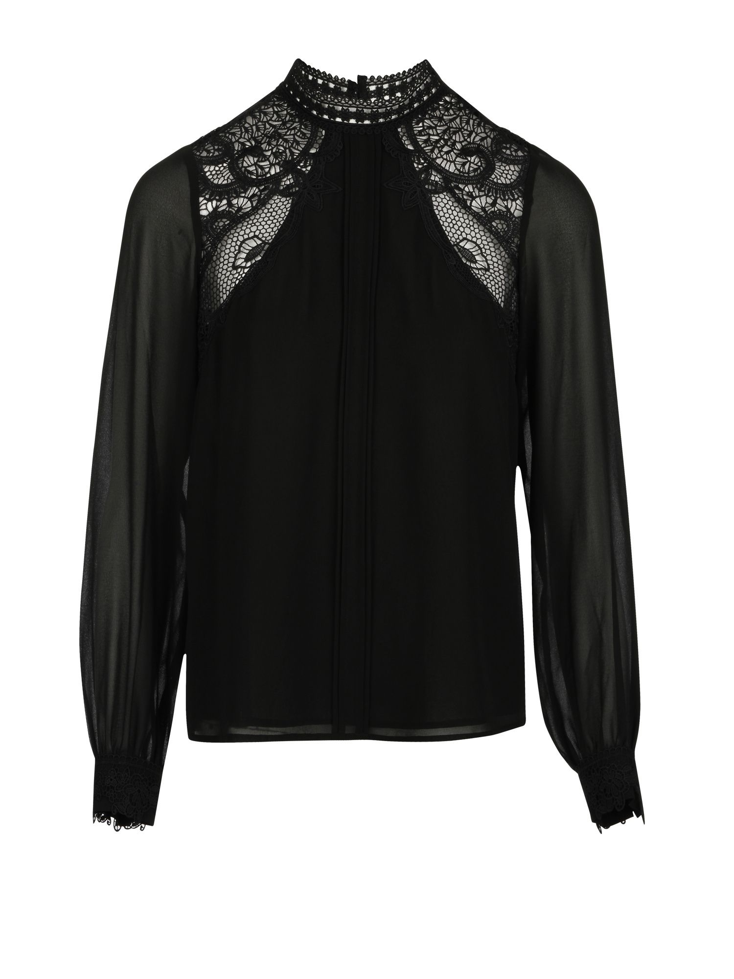 Morgan Crepe And Guipire Lace Blouse, Black