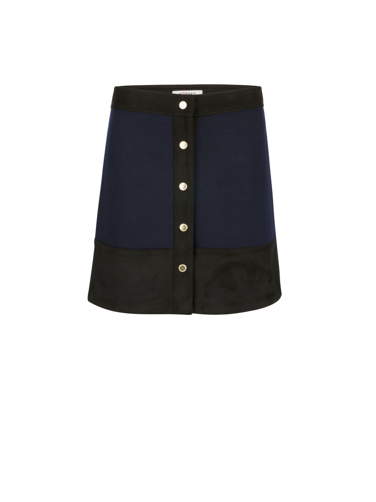 Morgan Suede And Knit A-Line Skirt, Blue