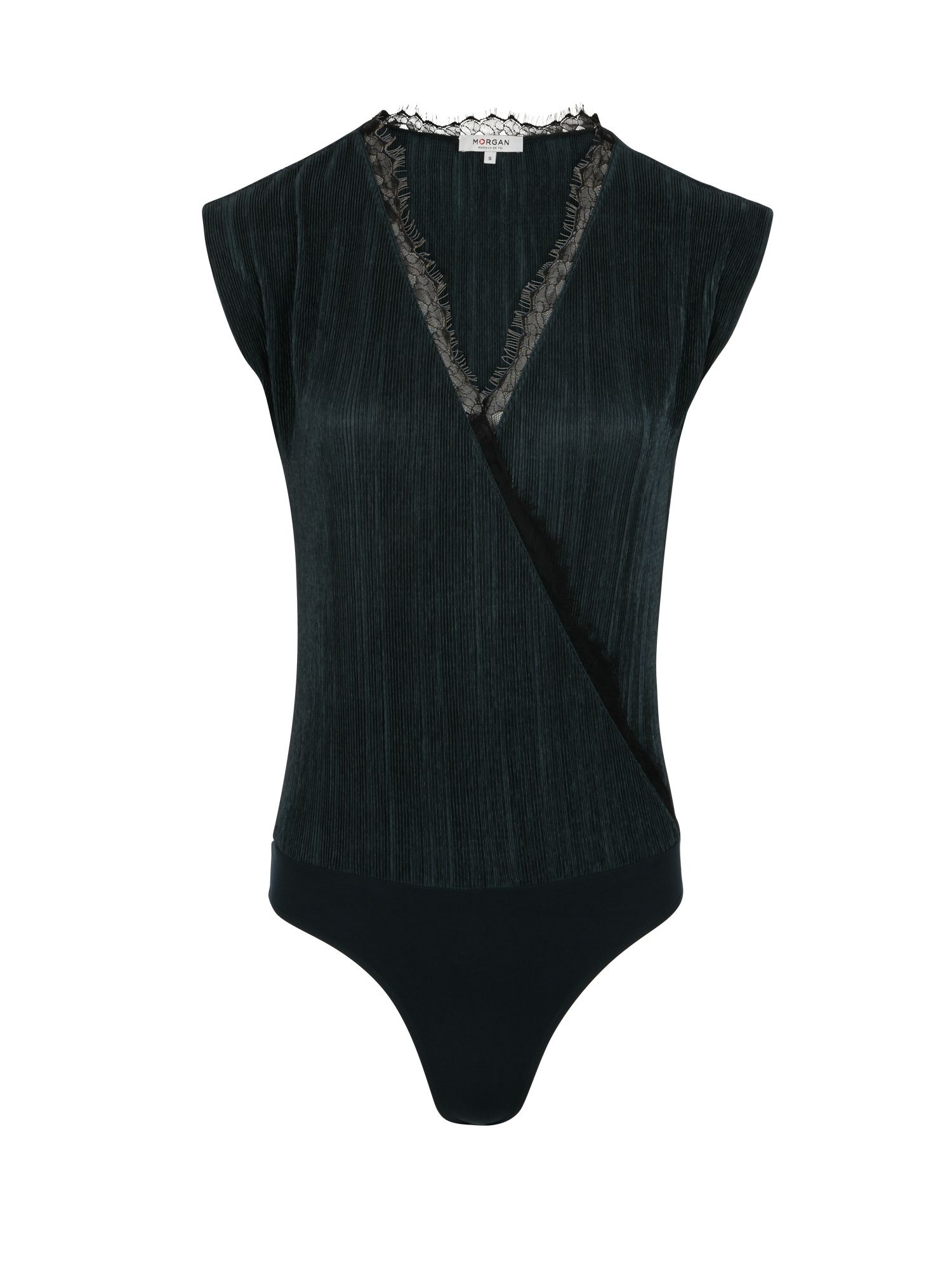 Morgan Pleated Satin Bodysuit With Lace Trim, Green