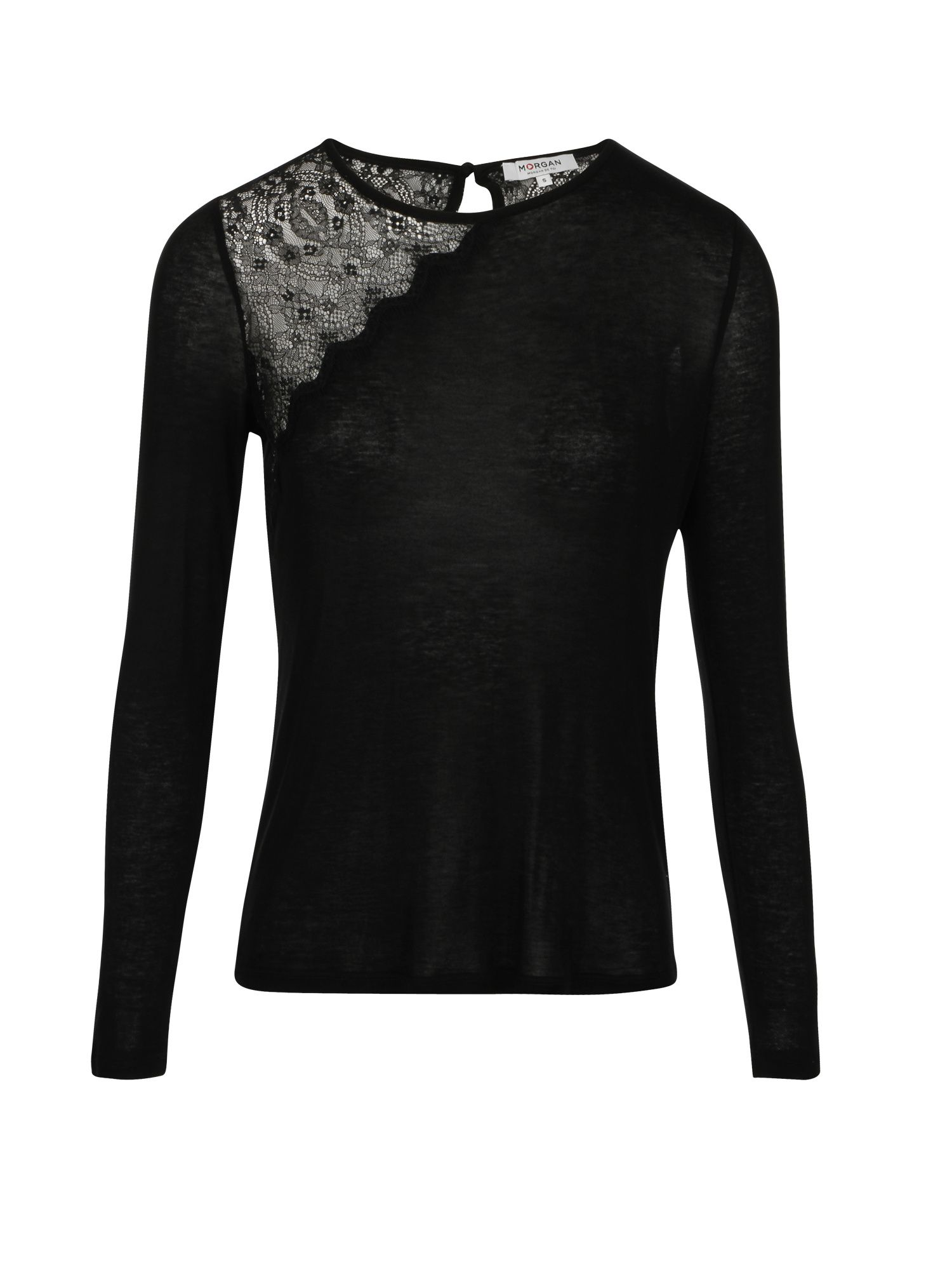 Morgan Top With Asymmetrical Lace Panel, Black