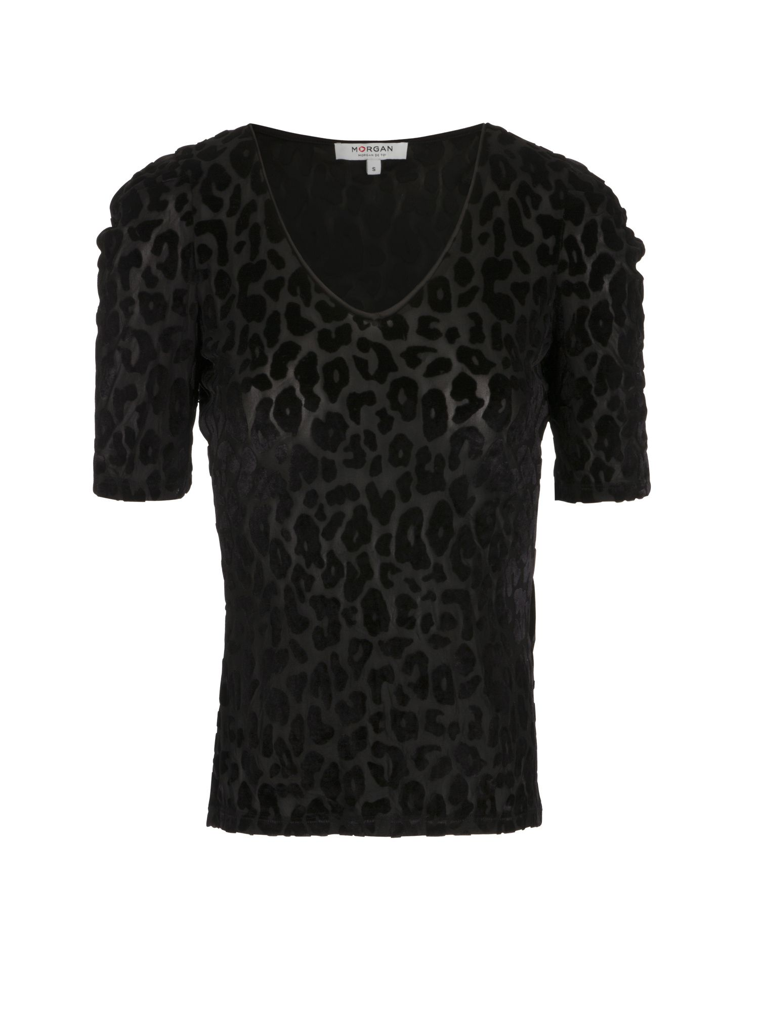 Morgan T-Shirt With Leopard Print Motif, Black