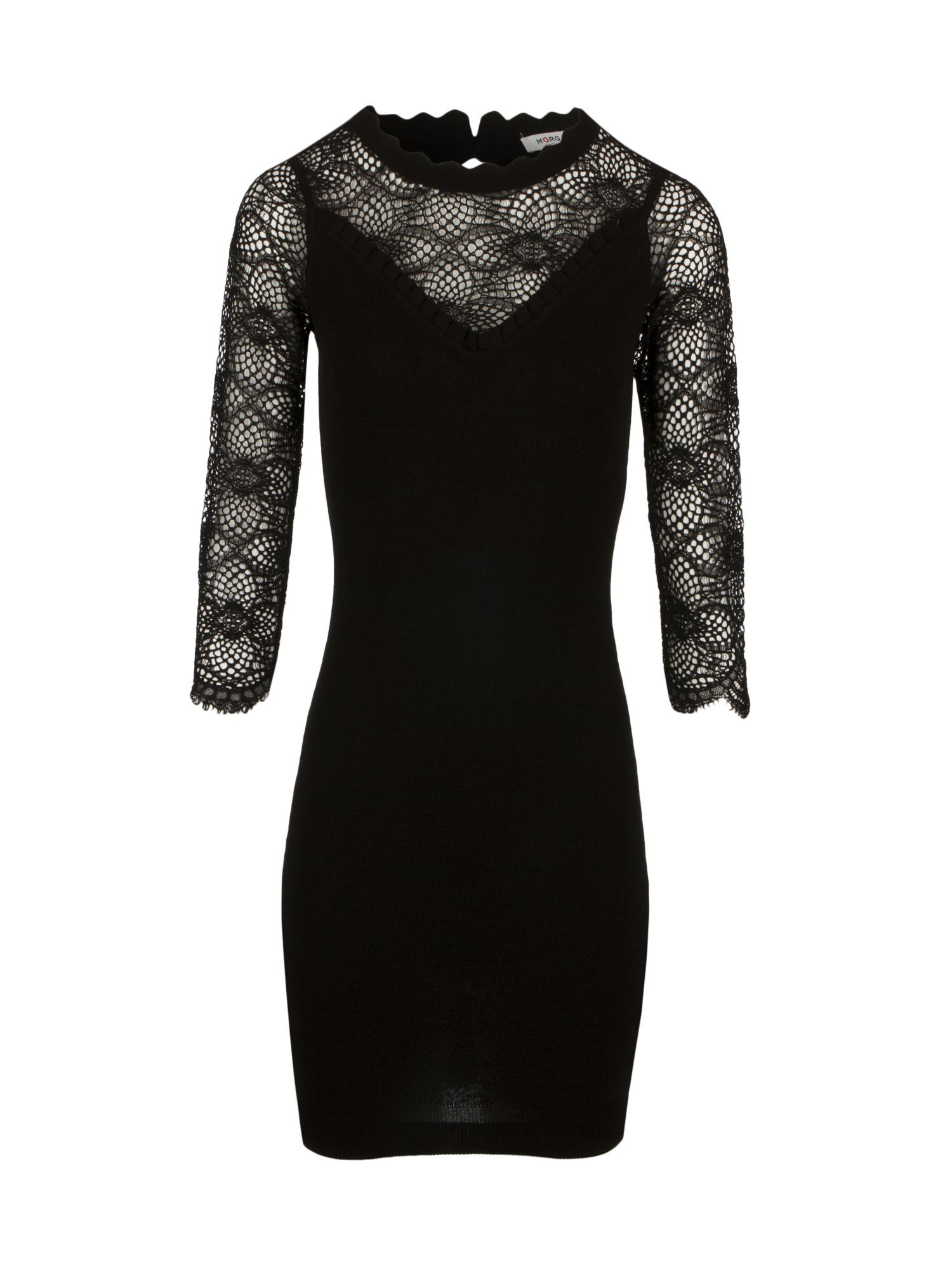 Morgan Bodycon Knit Dress With Mesh Effect, Black
